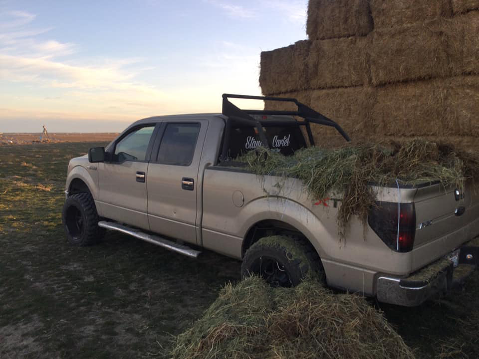 man trapped under a bale of hay