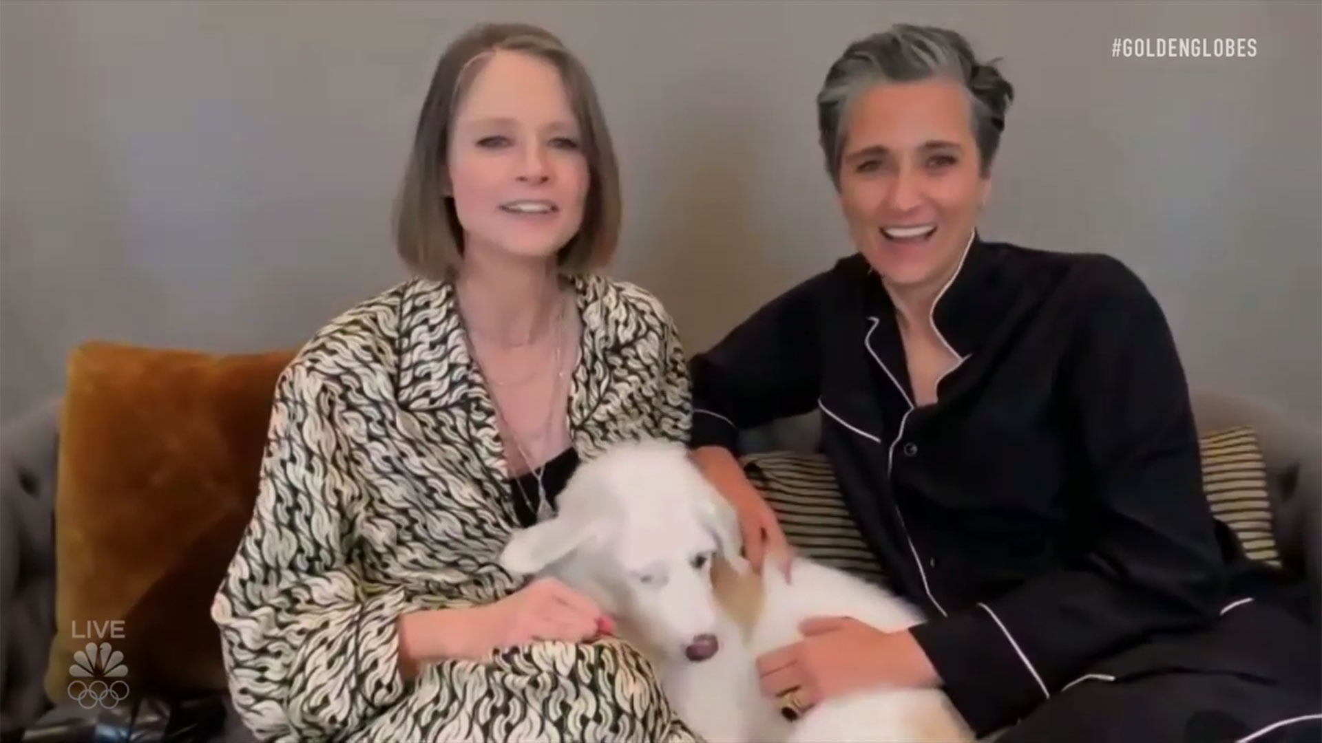 Jodie Foster, her wife Alexandra Hedison and their puppy Ziggy