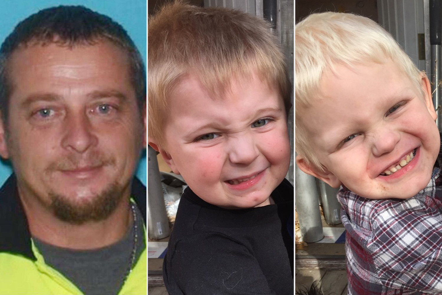 40 year old Darrell Peak and his two children, 3 year old Mayson Peak and 4 year old Kaiden Peak.