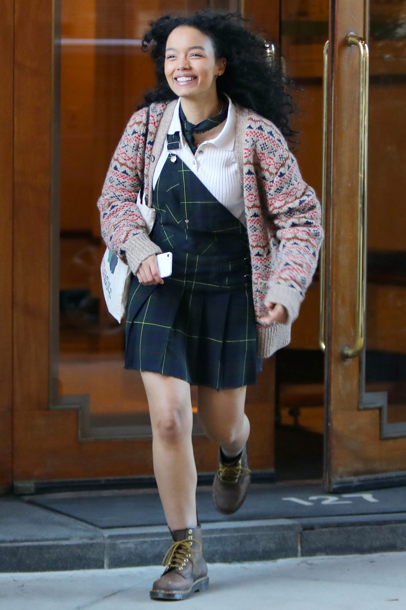 """Whitney Peak is seen on the set of """"Gossip Girl"""" on March 02, 2021 in New York City"""