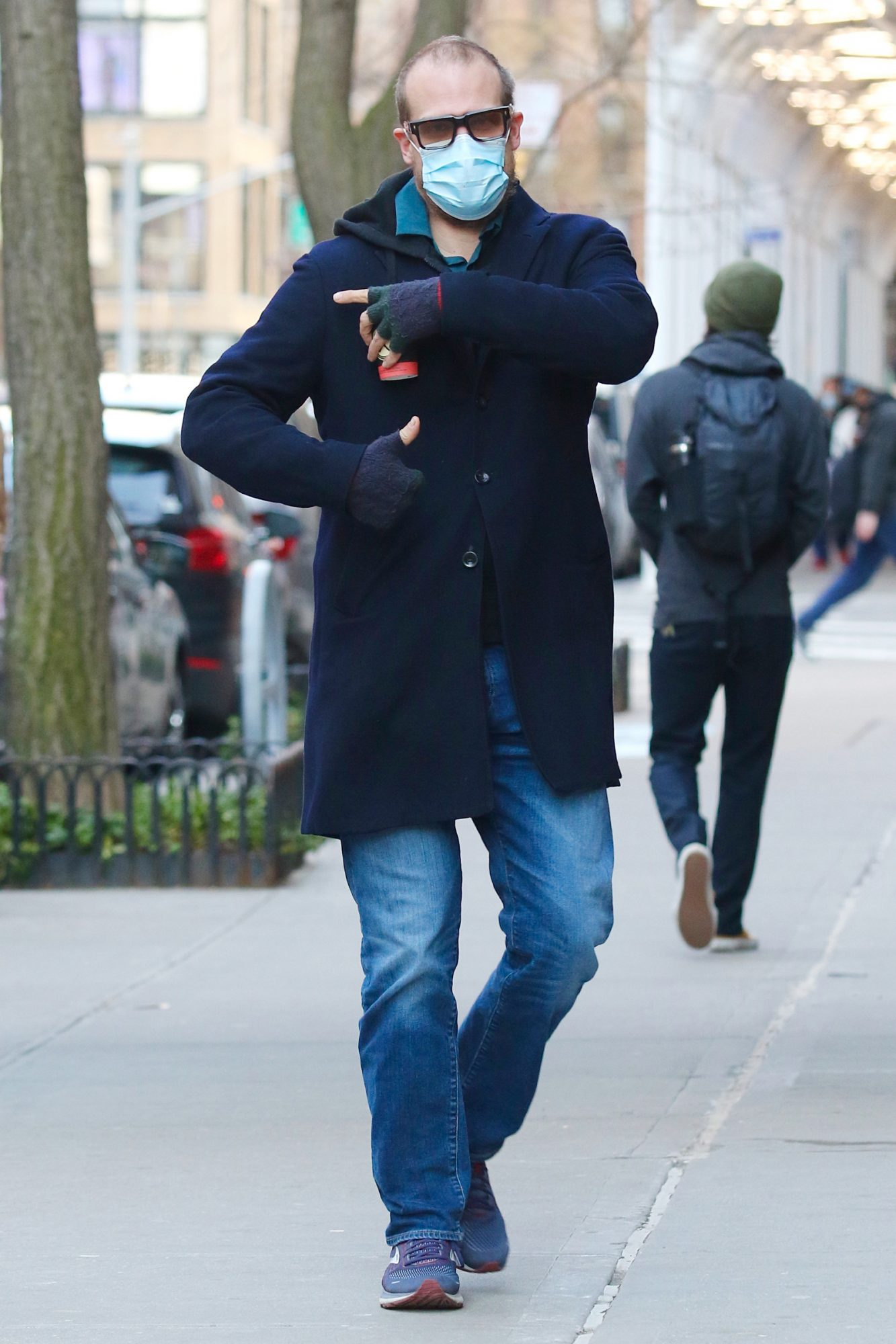 David Harbour is seen for the first time and in great spirits after getting vaccinated for Covid-19 in NYC.