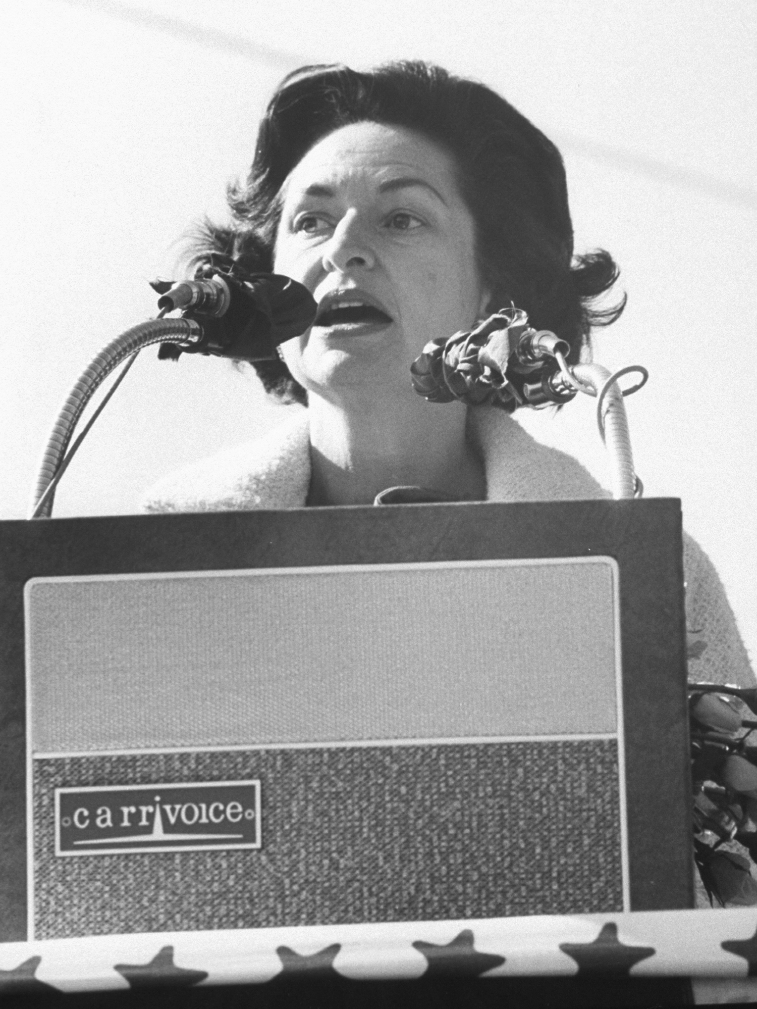 Lady Bird Johnson addresses rally during her campaign through the South