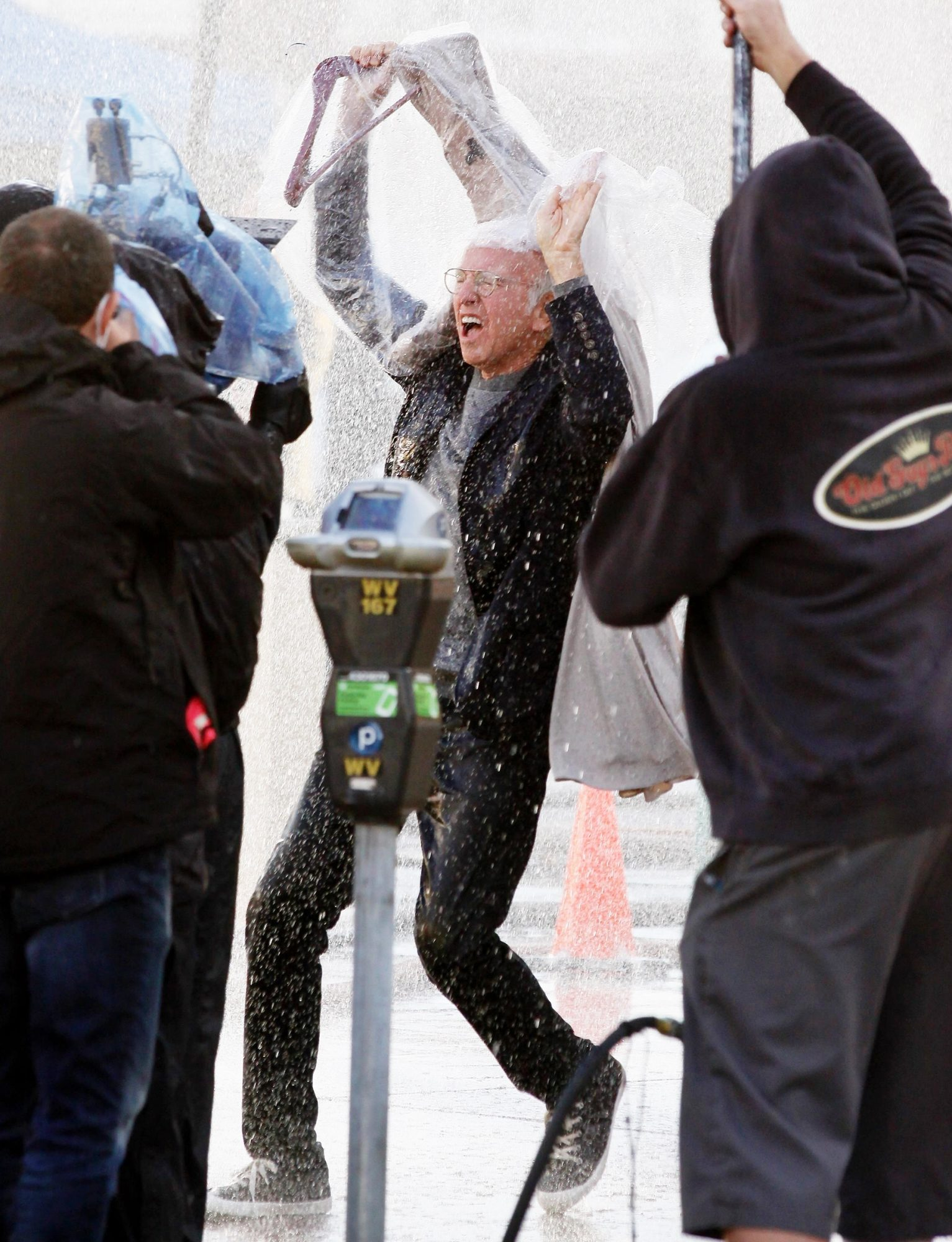Larry David Caught In The Rain on Curb Set