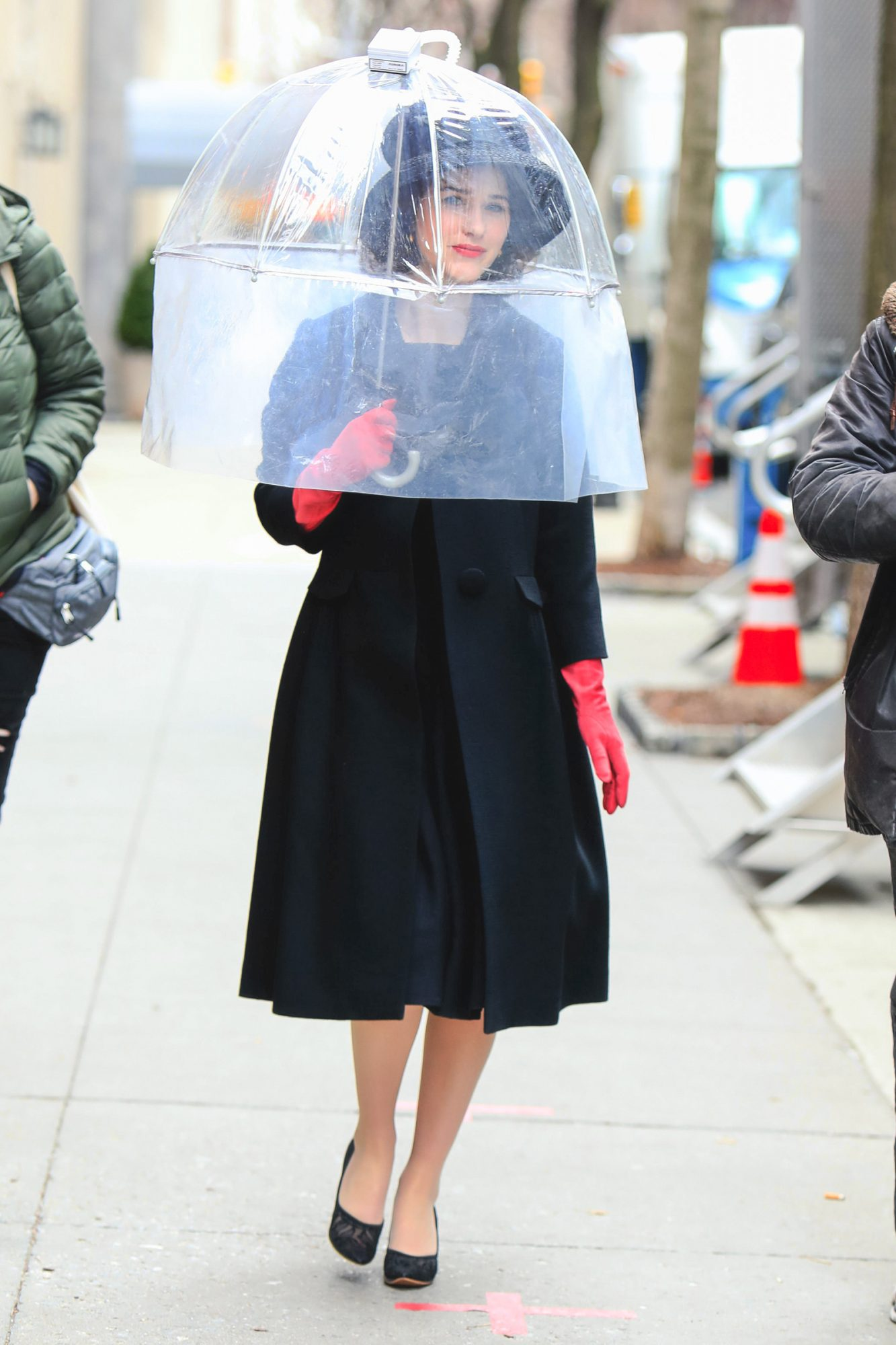 Rachel Brosnahan is seen at the film set of 'The Marvelous Mrs. Maisel' TV Series on March 04, 2021 in New York City