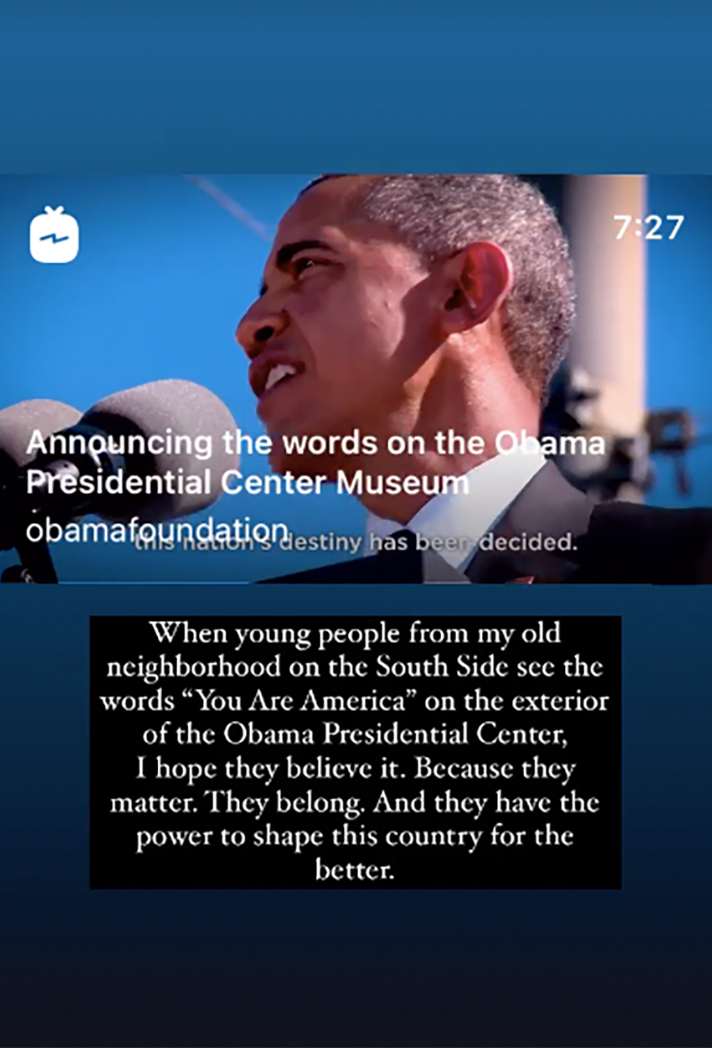 Michelle Obama posts video of words on Obama Presidential Center