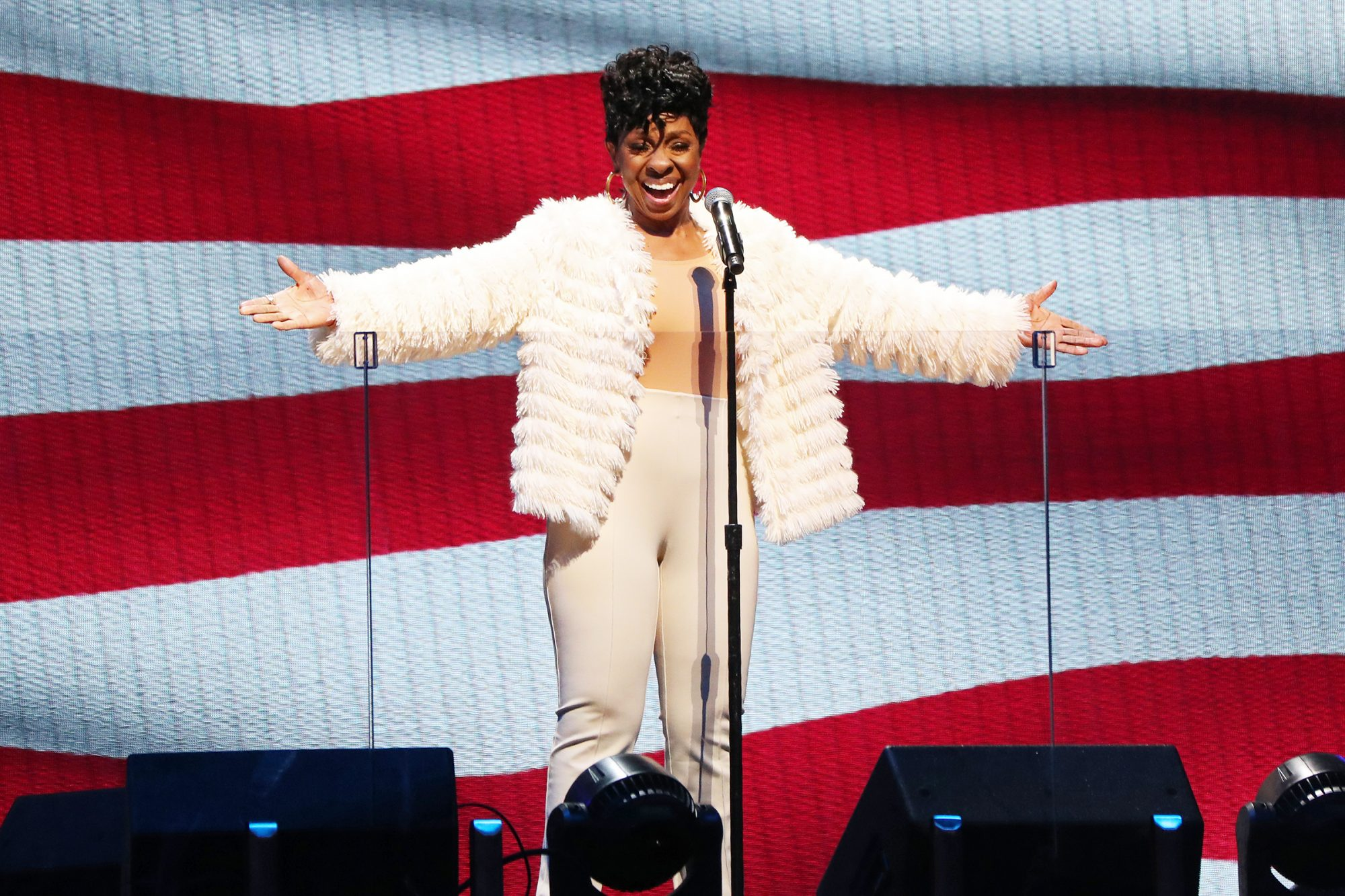 Gladys Knight performs the National Anthem before the 70th NBA All Star Game as part of 2021 NBA All Star Weekend on March 7, 2021 at State Farm Arena