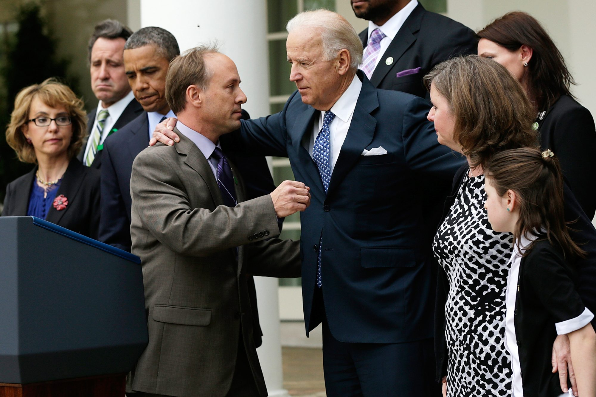 Mark Barden, the father of a victim at Sandy Hook Elementary School, is embraced by Vice President Joe Biden