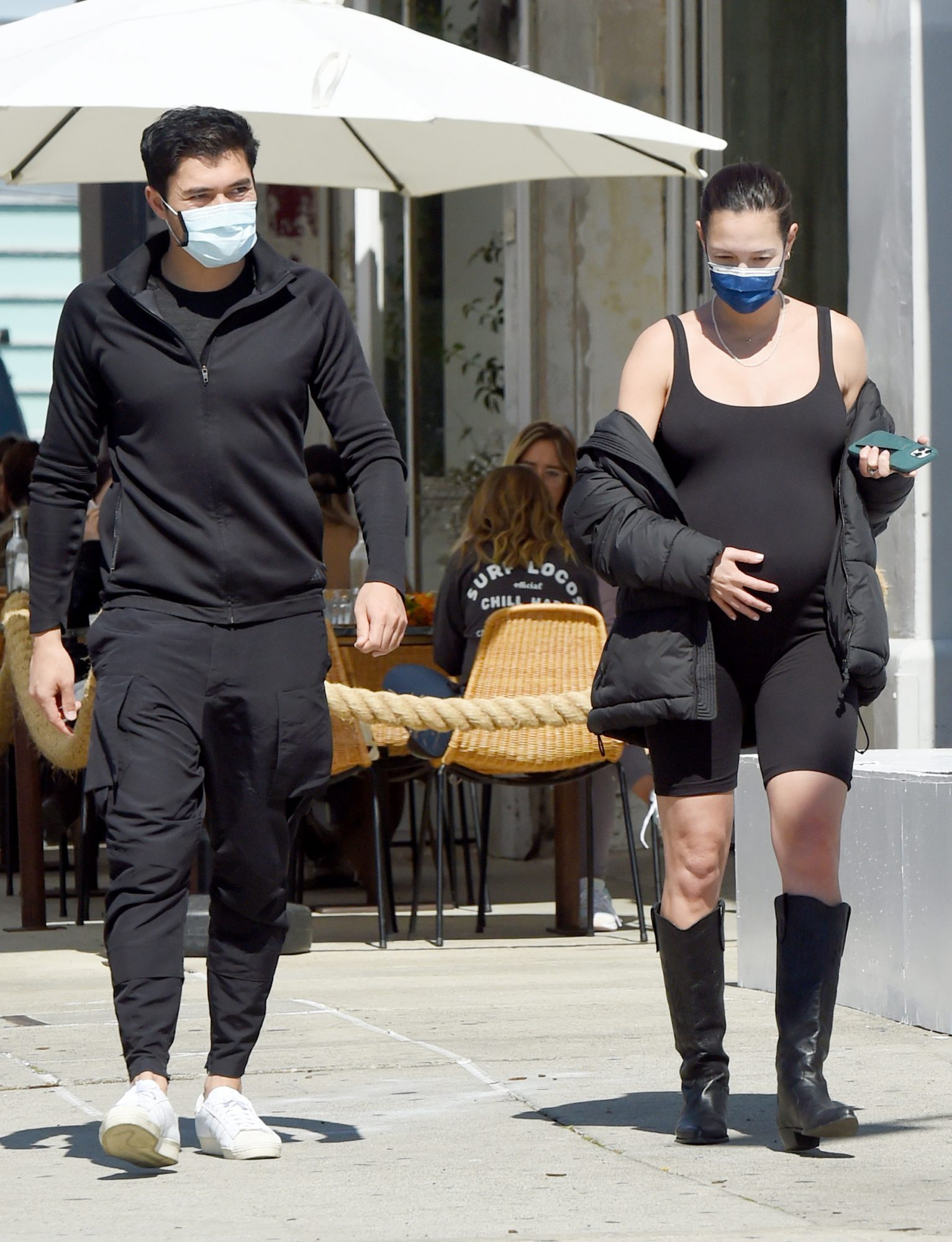 Henry Golding and Pregnant Wife, Liv Lo Head Out to Eat With a Friend in Los Angeles.