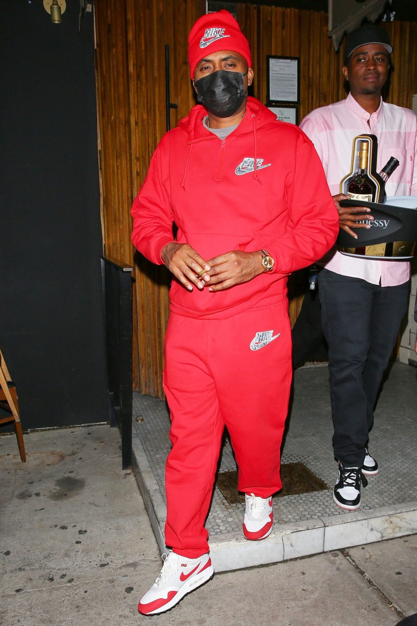 The Rapper Nas was seen leaving The Nice Guy