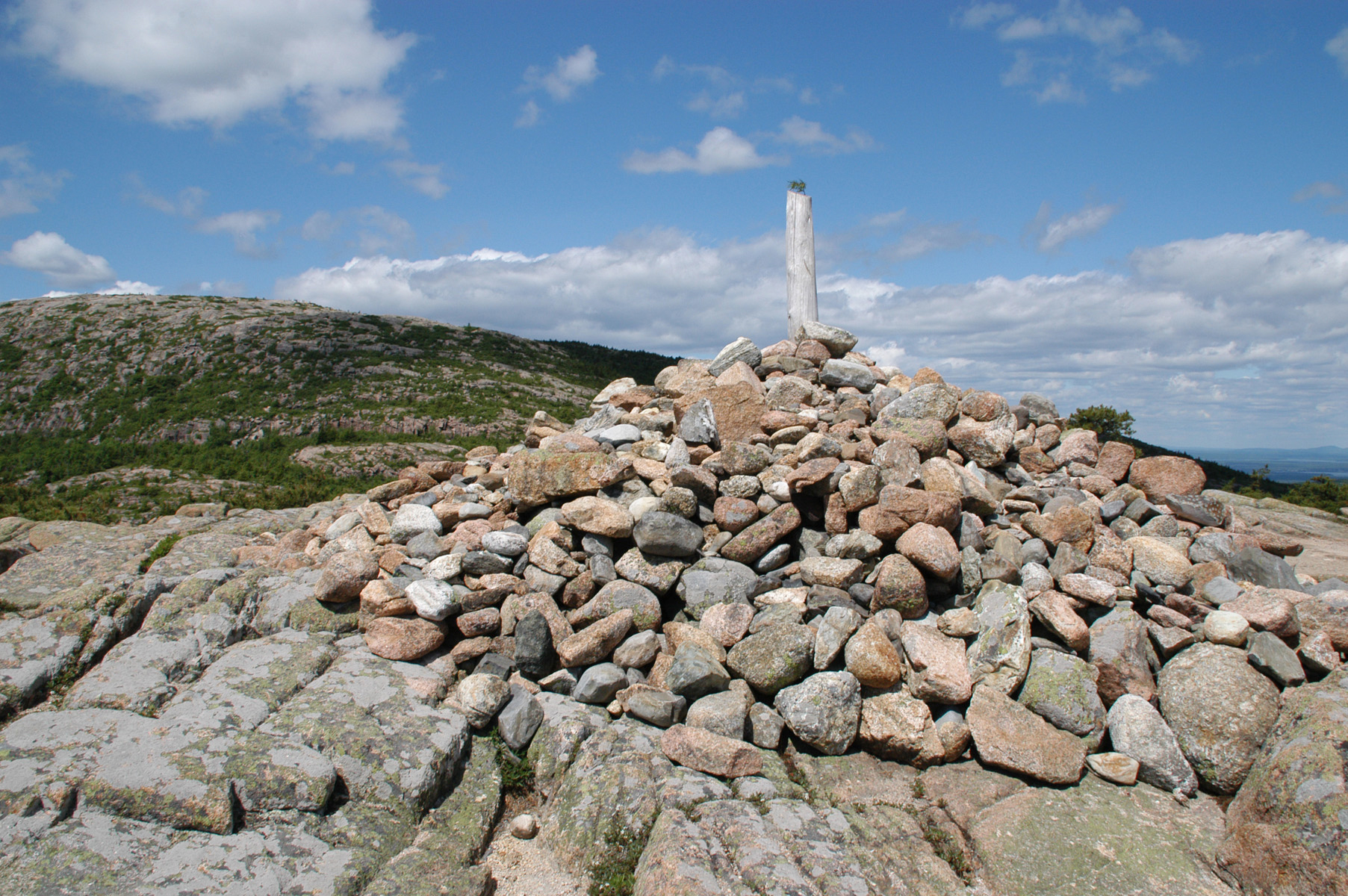Dorr Mountain summit post and cairn