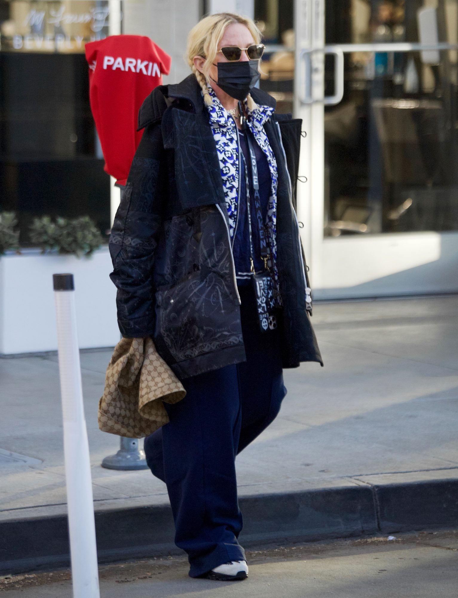 Madonna Showcases Her Funky Fashion In Floppy Gucci Hat And Louis Vuitton Vest While Visiting A Beverly Hills Dermatologist