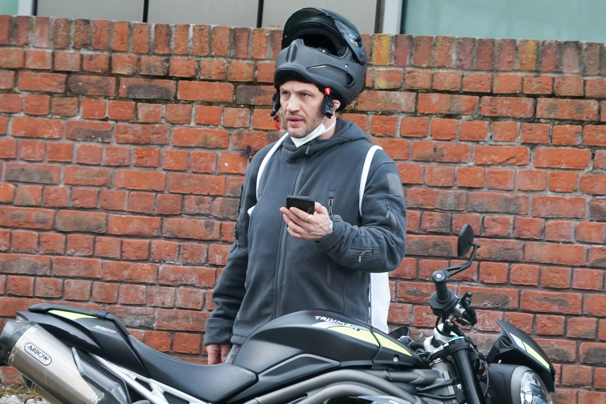 Tom Hardy Shows Off His New Triumph Triple Speed 1050 Motorcycle