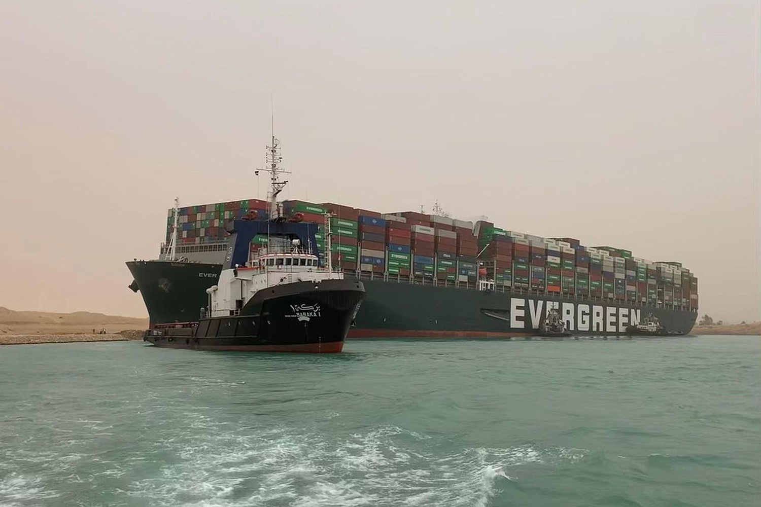 Suez Canal blocked by a large container ship