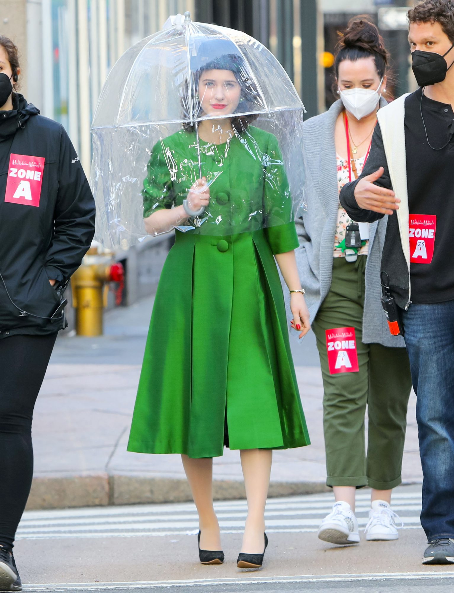 Rachel Brosnahan is seen at the film set of the 'The Marvelous Mrs. Maisel' TV Series on March 23, 2021