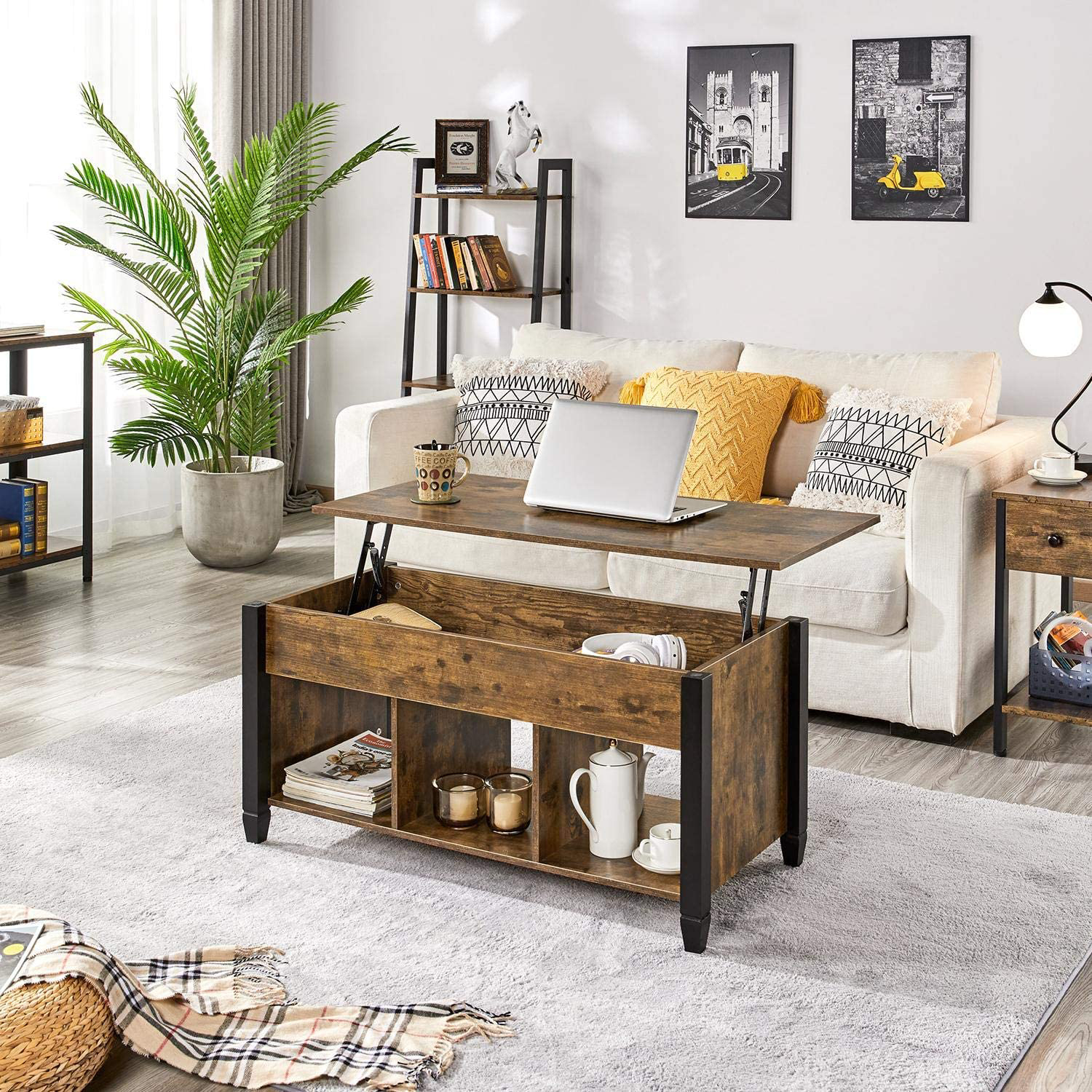 YAHEETECH Lift Top Coffee Table with Hidden Compartment & Shelf