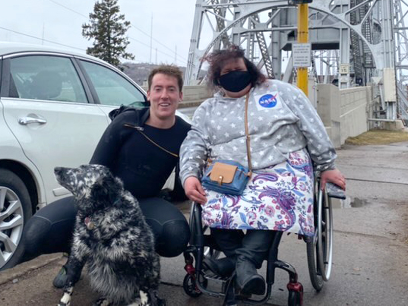 Darby Voeks rescues man and dog in Lake Superior