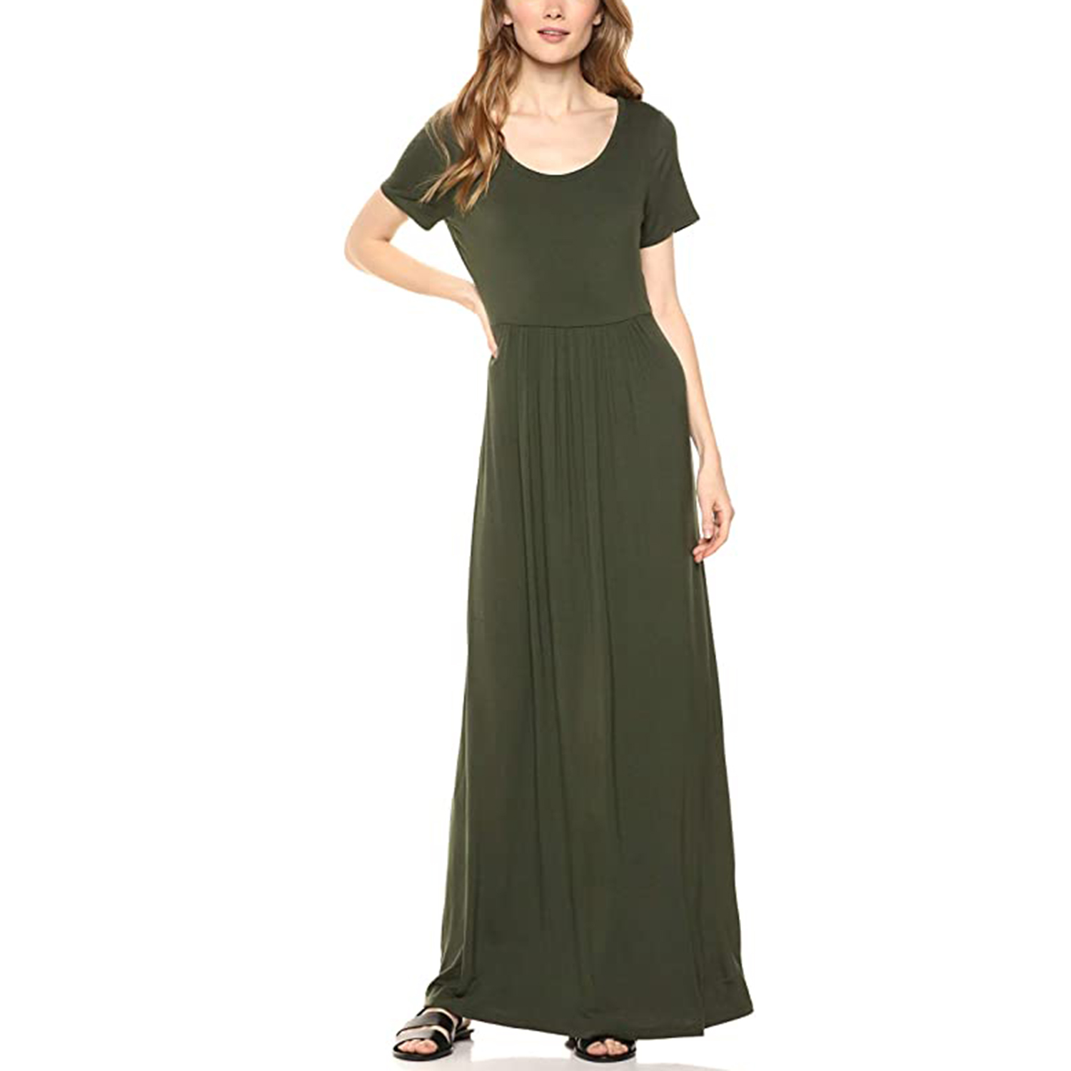 Daily Ritual Women's Jersey Short-Sleeve Scoop-Neck Empire-Waist Maxi Dress
