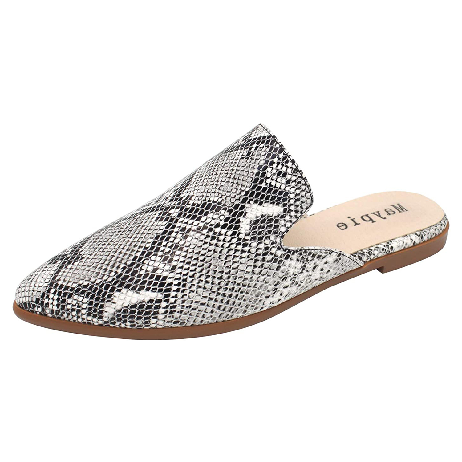 MAYPIE Womens Flat Mules Closed Pointed Toe Slip On Loafer