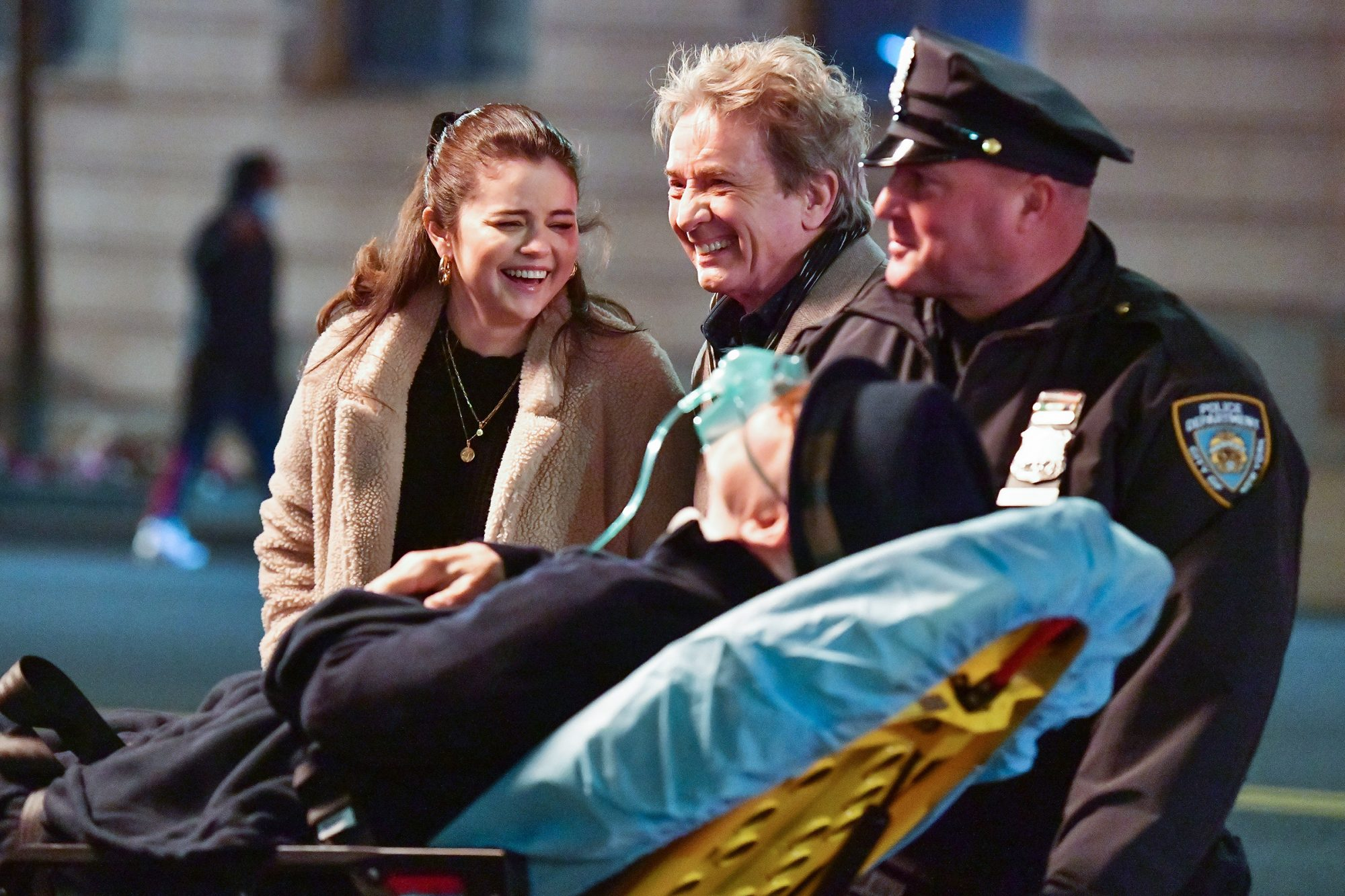 Selena Gomez, Martin Short and Steve Martin seen on the set of 'Only Murders in the Building' in Manhattan on March 30, 2021 in New York City