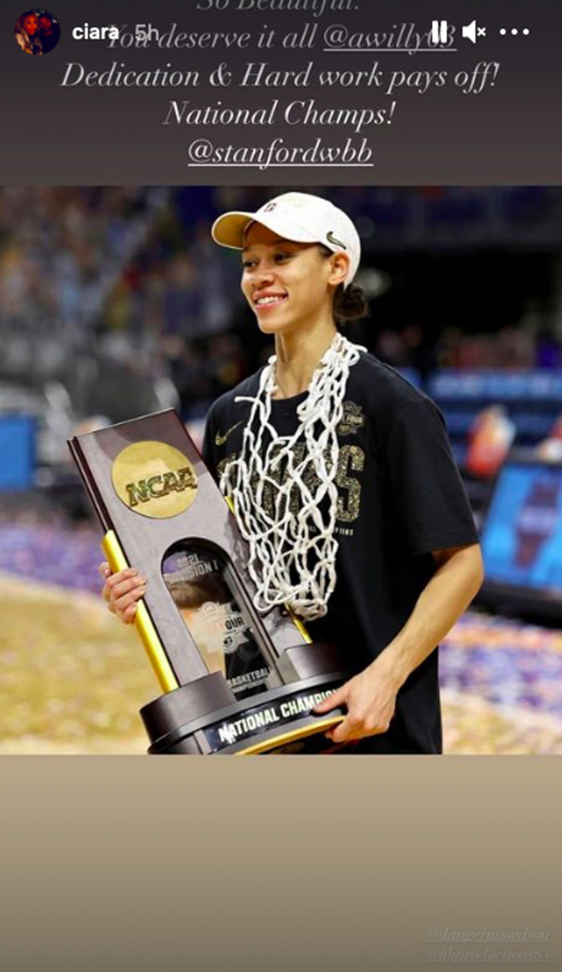 Anna Wilson #3 of the Stanford Cardinal celebrates with the trophy following the team's win against the Arizona Wildcats in the National Championship game of the 2021 NCAA Women's Basketball Tournament