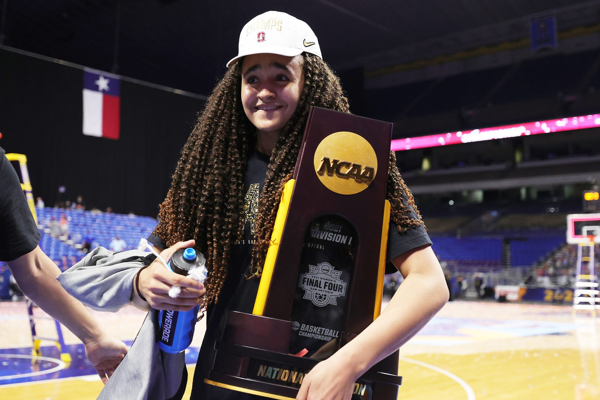 Haley Jones #30 of the Stanford Cardinal holds the trophy after the team's win against the Arizona Wildcats in the National Championship game of the 2021 NCAA Women's Basketball Tournament at the Alamodome on April 04, 2021 in San Antonio