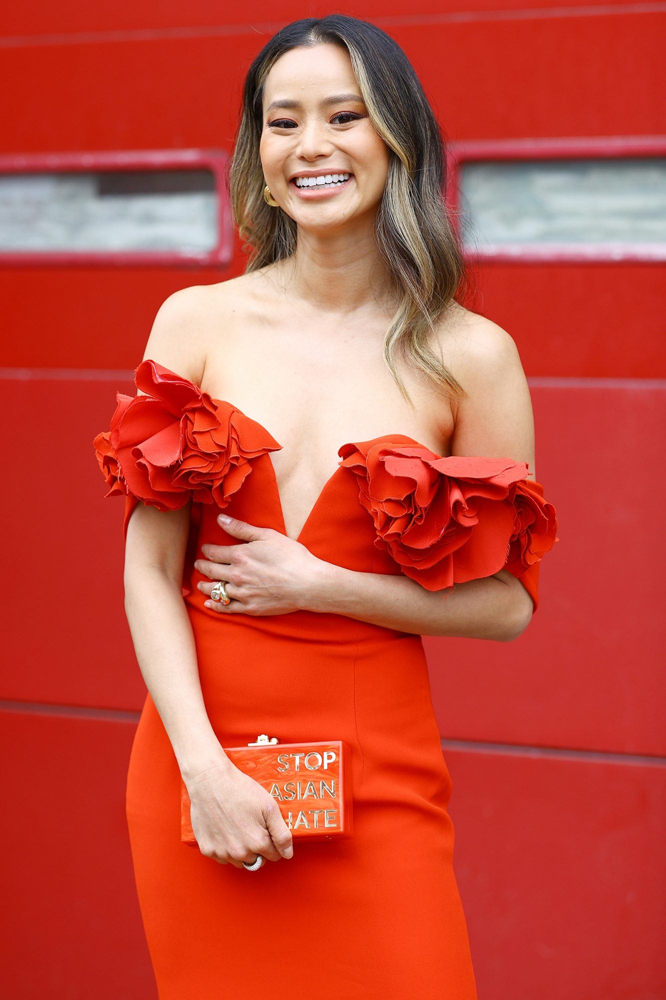 Jamie Chung is seen in her award show look for the 27th Annual Screen Actors Guild Awards on March 31, 2021 in New York City