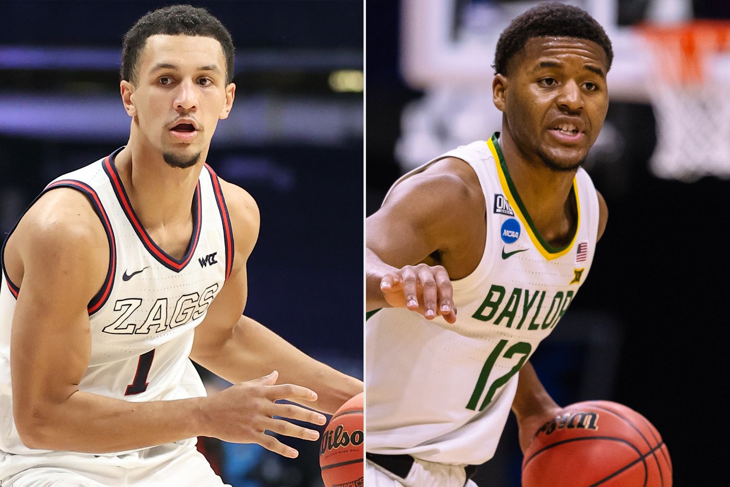 Jalen Suggs #1 of the Gonzaga Bulldogs, Jared Butler #12 of the Baylor Bears