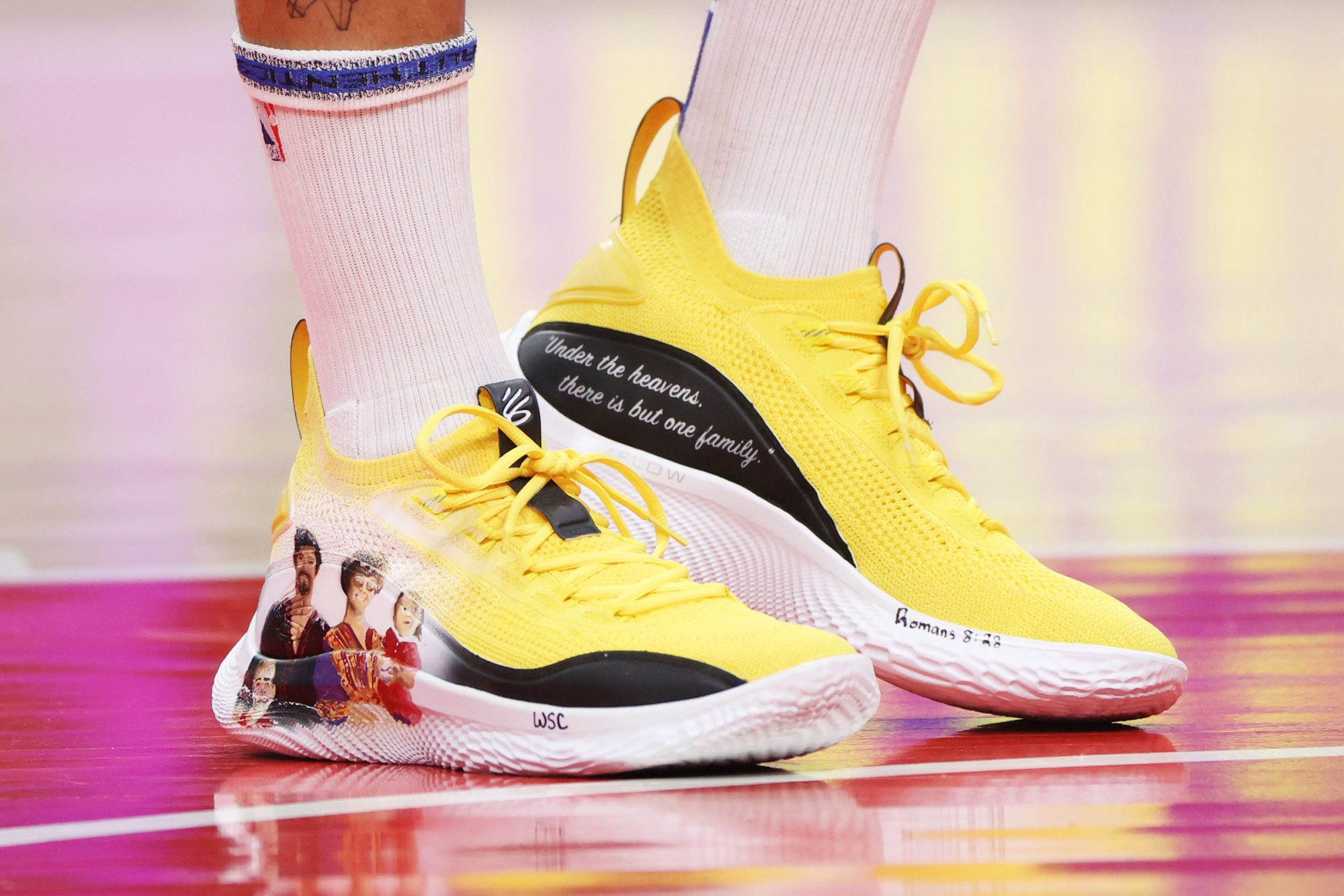 The sneakers of Stephen Curry #30 of the Golden State Warriors during the game against the Atlanta Hawks on APRIL 4, 2021 at State Farm Arena in Atlanta, Georgia
