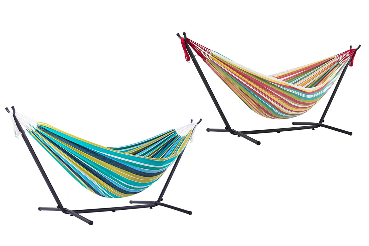 Vivere Double Cotton Hammock with Space Saving Steel Stand