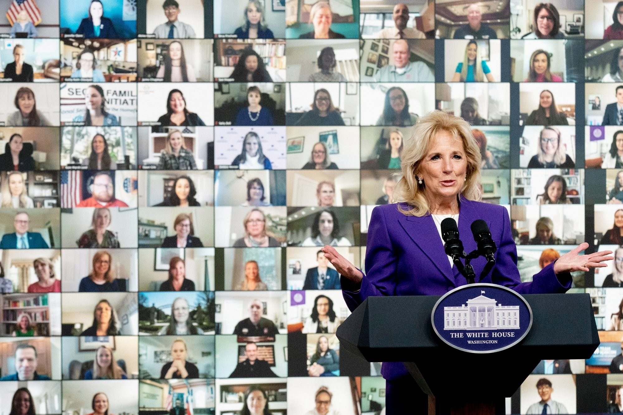 First lady Jill Biden speaks at a virtual event with military families from around the world as part of the White House initiative to support military and veteran families in the South Court Auditorium in the Eisenhower Executive Office Building on the White House Campus, in Washington
