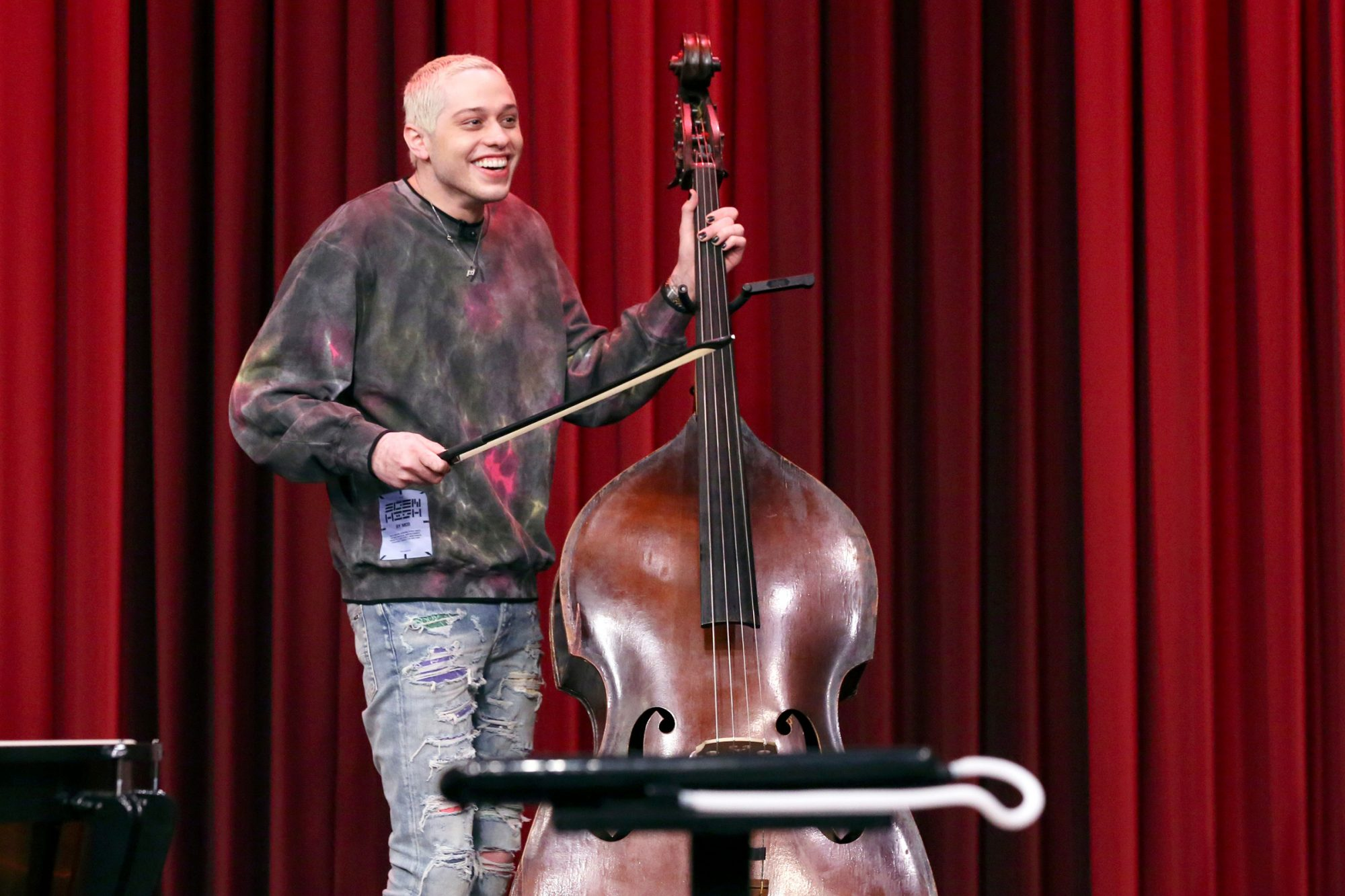 "Comedian Pete Davidson during ""Random Instrument Challenge"" on Tuesday, April 6, 2021"