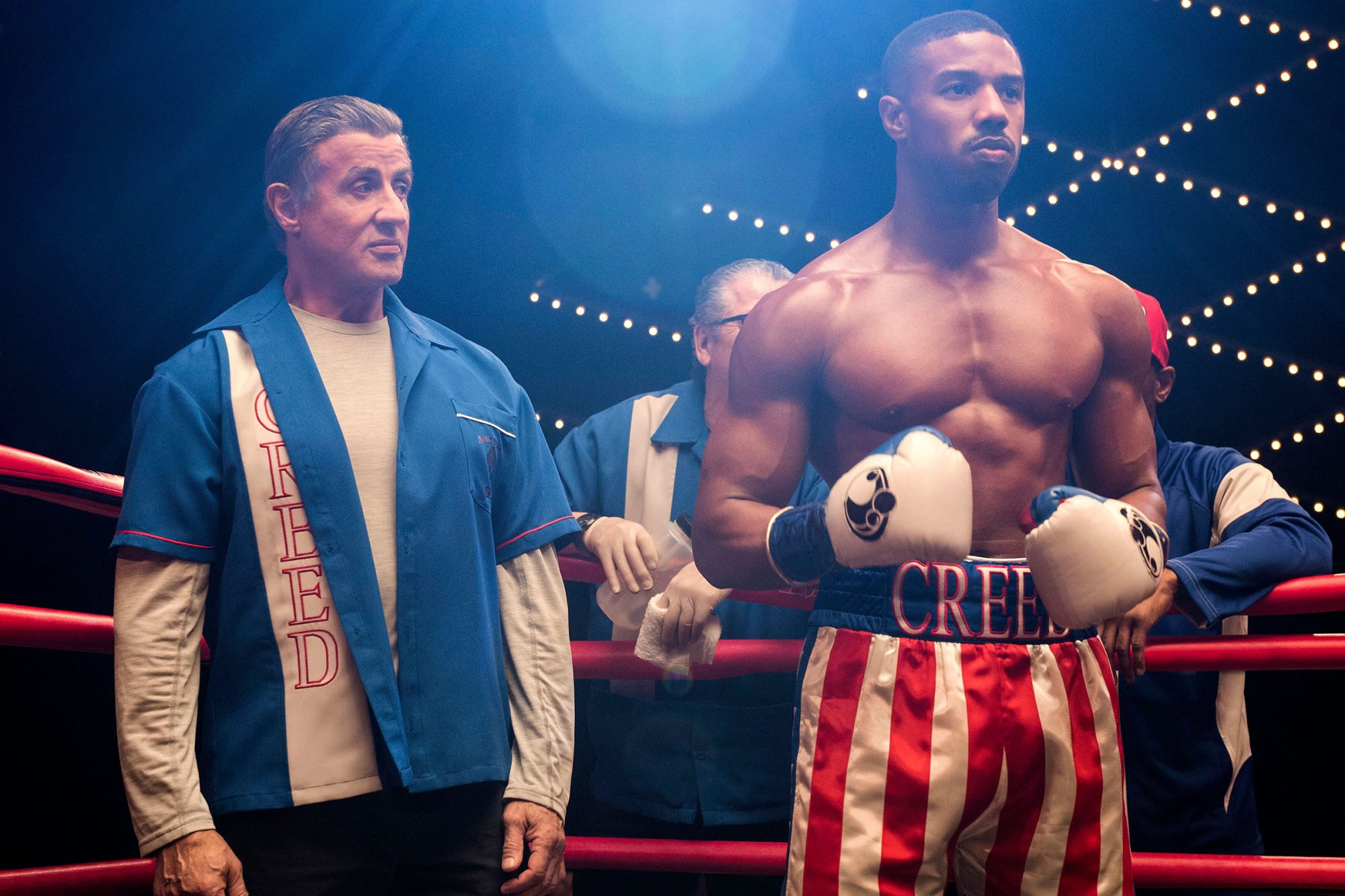 Sylvester Stallone as Rocky Balboa and Michael B. Jordan as Adonis Creed 'Creed II'