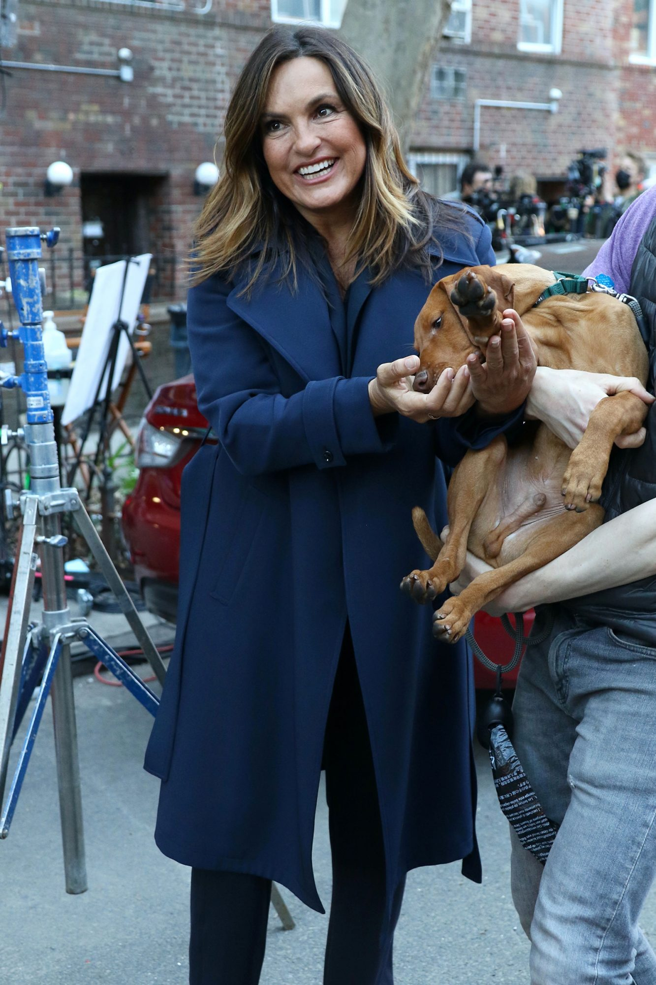 """Mariska Hargitay is seen on the set of """"Law and Order: SVU"""" on April 07, 2021 in New York City"""