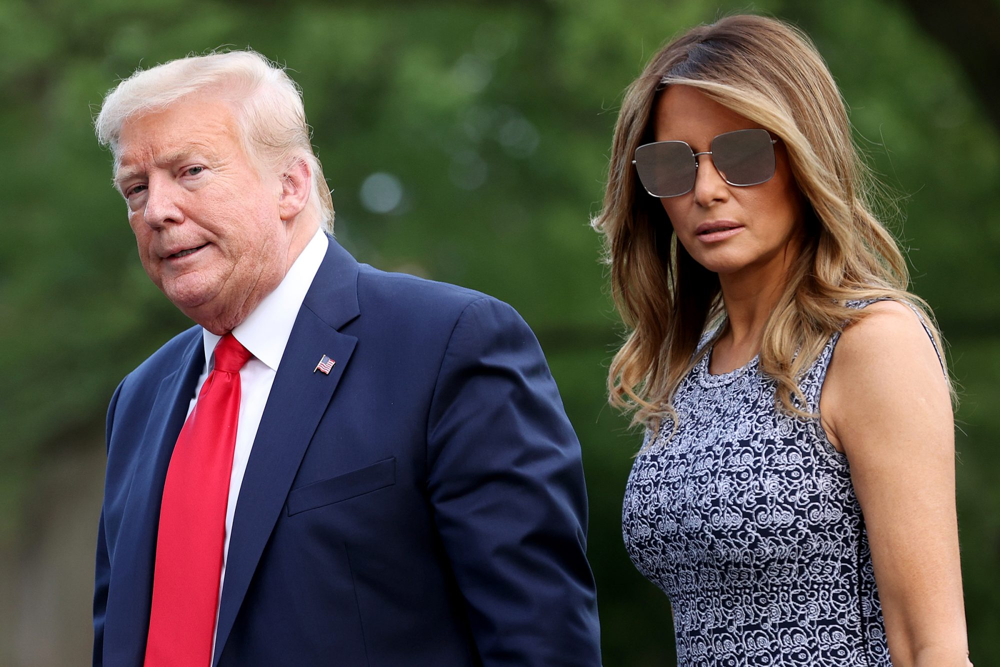 U.S. President Donald Trump and first lady Melania Trump return to the White House on May 27, 2020 in Washington, DC