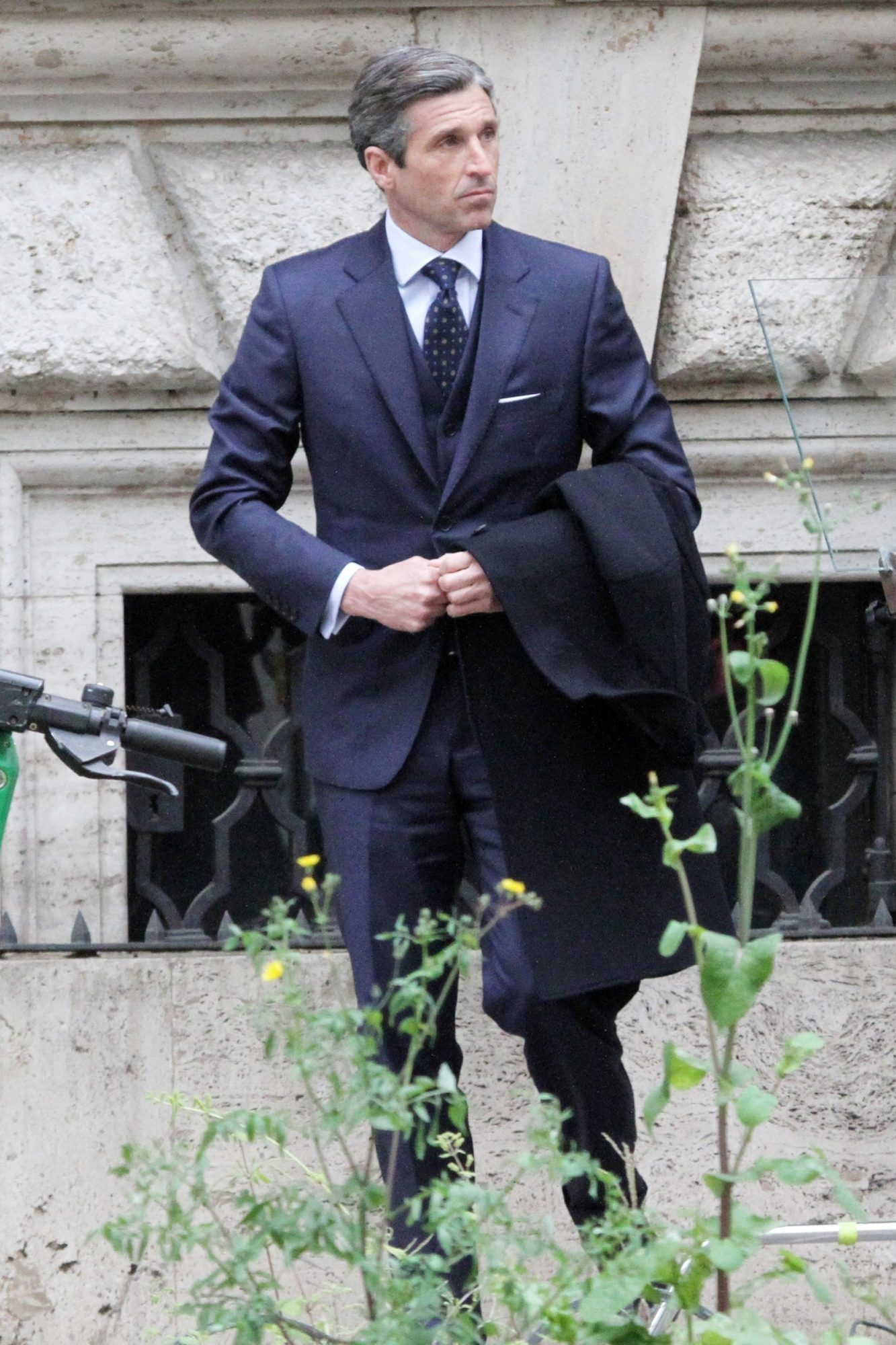 Filming of the second Devils TV series starring Patrick Dempsey and Pia Mechler has begun. Patrick gets help suiting up by the costume team as he films with co-star Pia Mechler