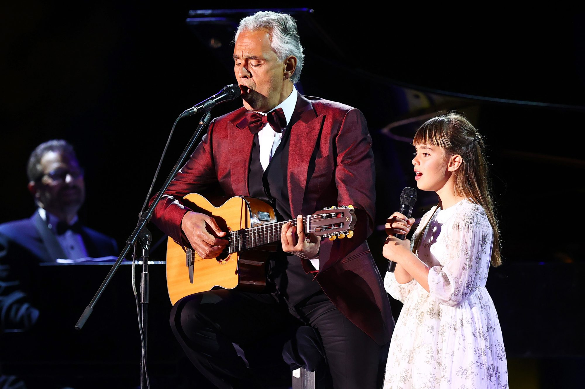 Andrea Bocelli performs in concert with his daughter Virginia Bocelli on April 08, 2021 at World Heritage Site Hegra in AlUla near Tabuk, Saudi Arabia