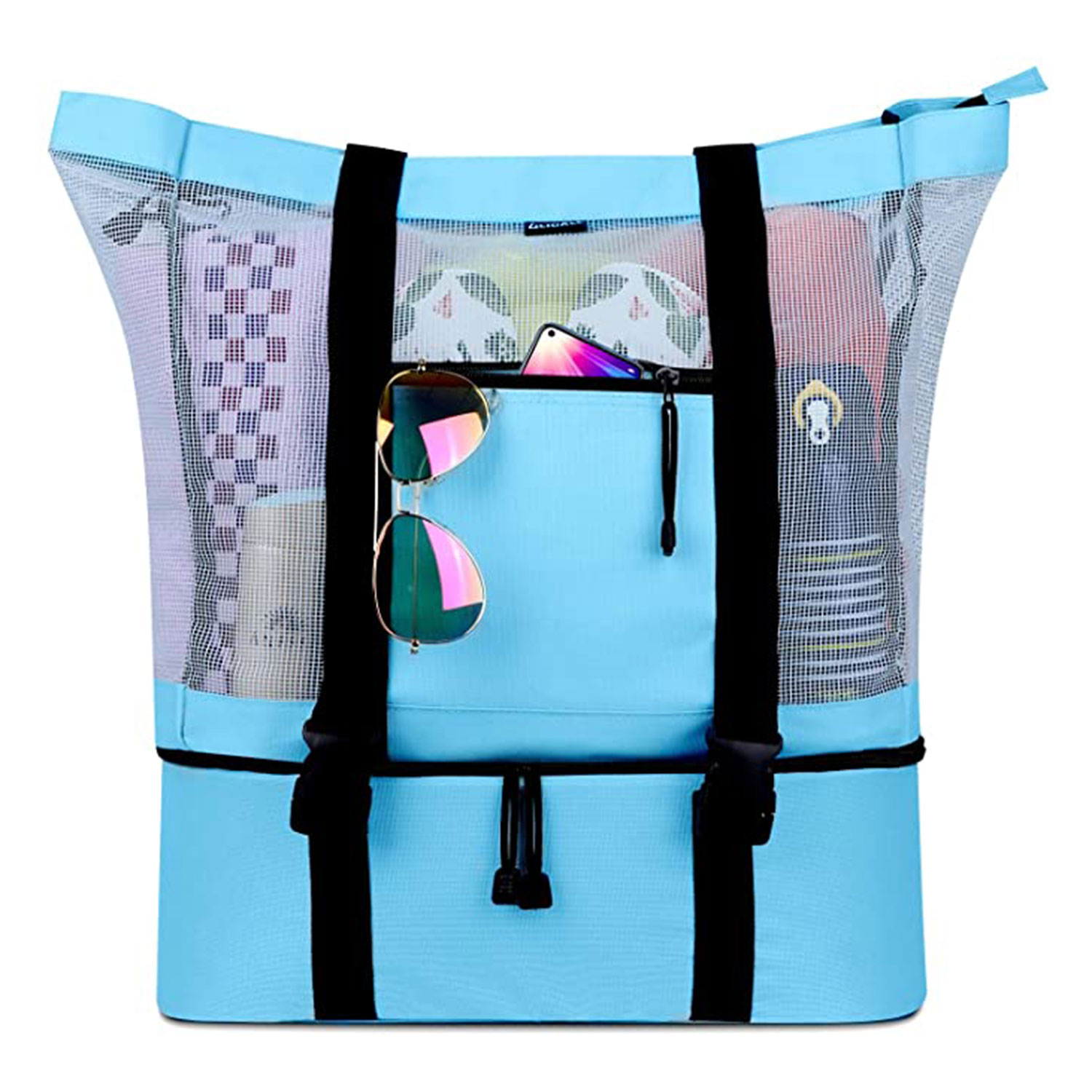 FITFORT Mesh Beach Tote Bag with Detachable Beach Cooler