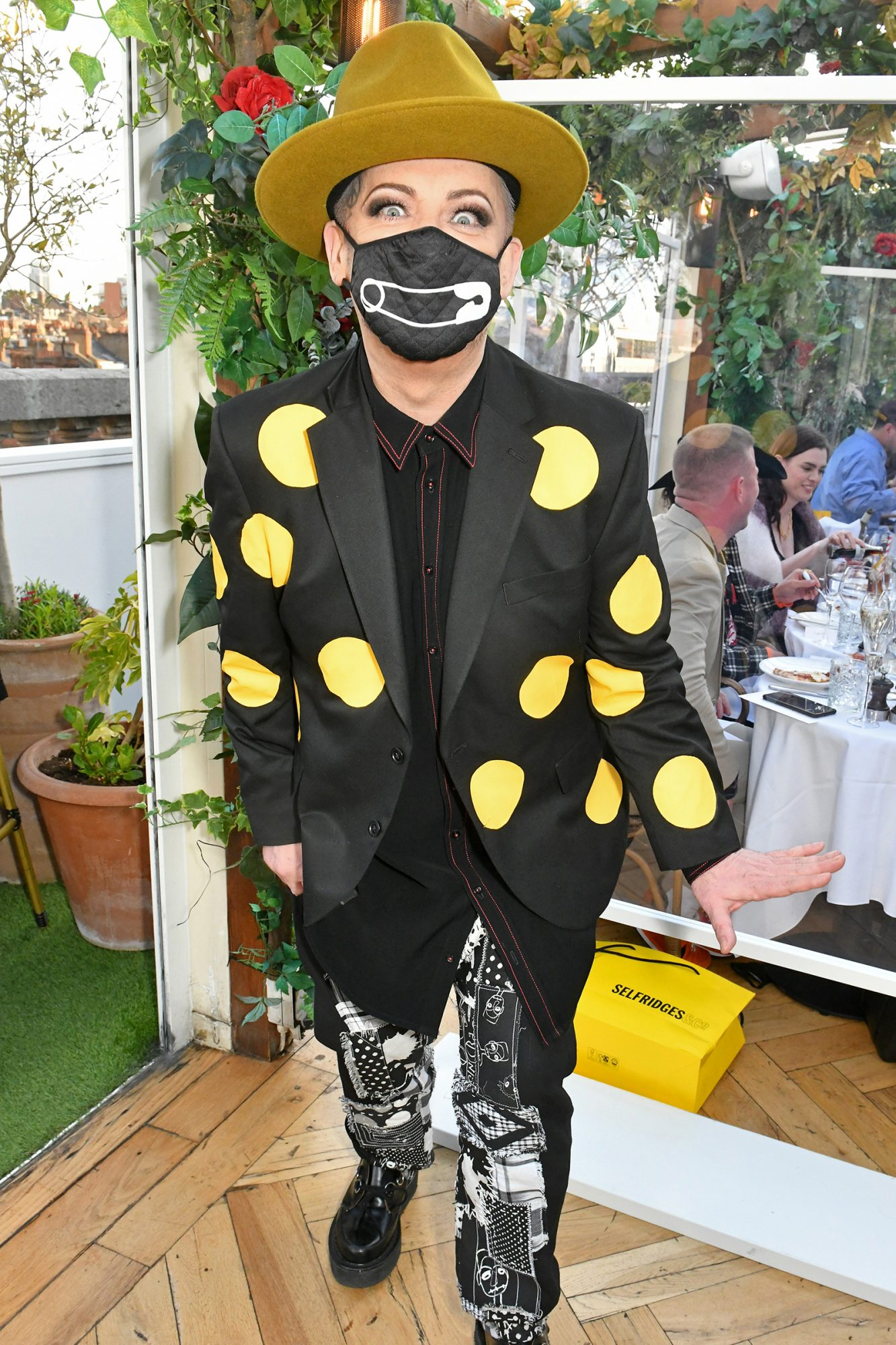 Boy George attends as Selfridges and DJ Fat Tony celebrate reopening day with al fresco dining at Selfridges rooftop restaurant alto by San Carlo (in line with government guidance) at Selfridges on April 12, 2021 in London