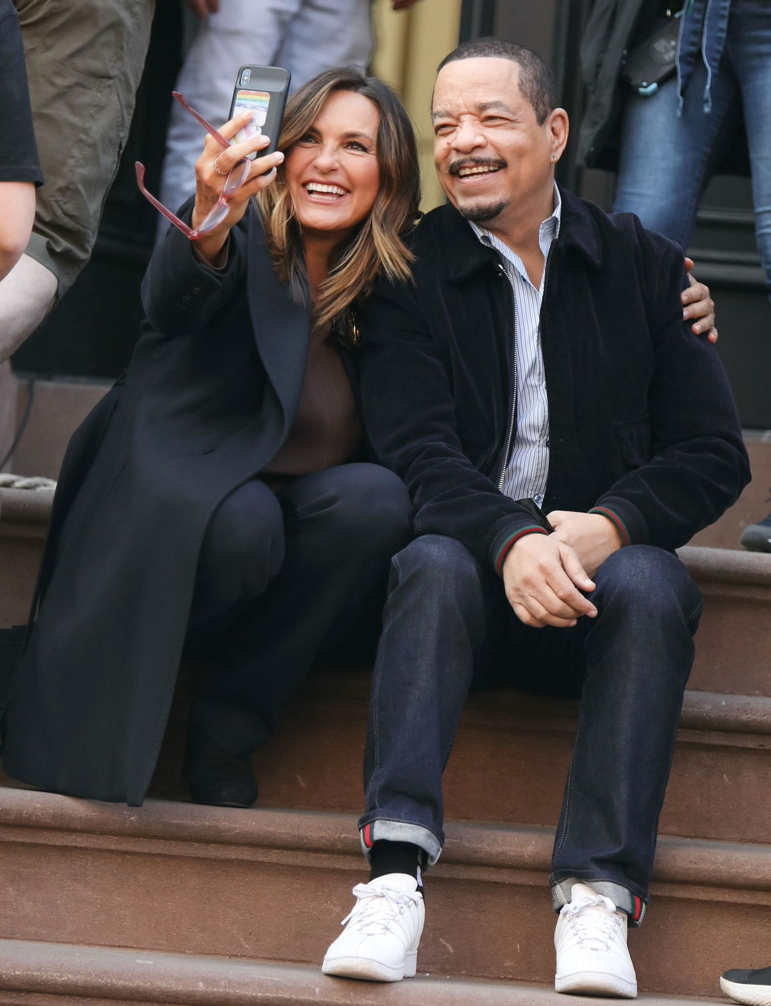 Mariska Hargitay and Ice T are seen at the film set of the 'Law and Order: Special Victims Unit' TV Series on April 12, 2021 in New York City