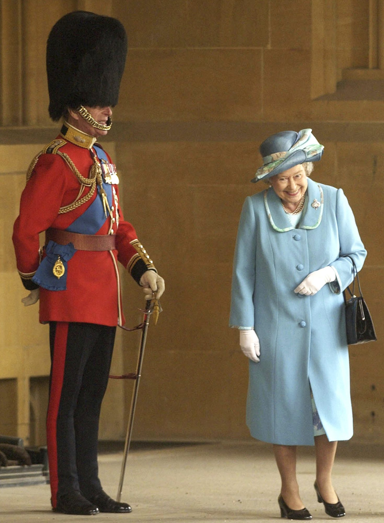 Queen Elizabeth II and Prince Philip prior to The Queen's Company Grenadier Guards ceremonial review
