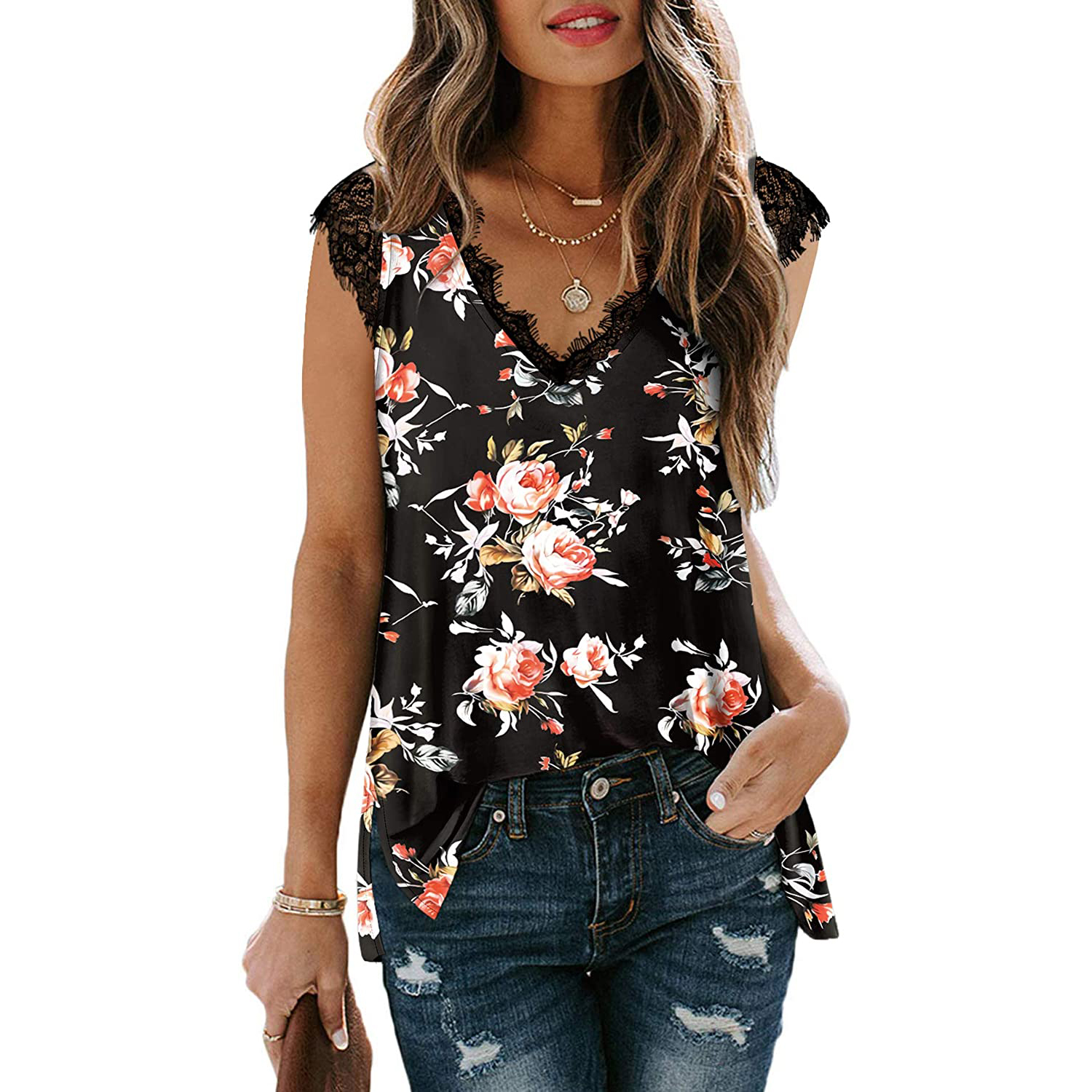 Xieerduo v-neck lace tank top