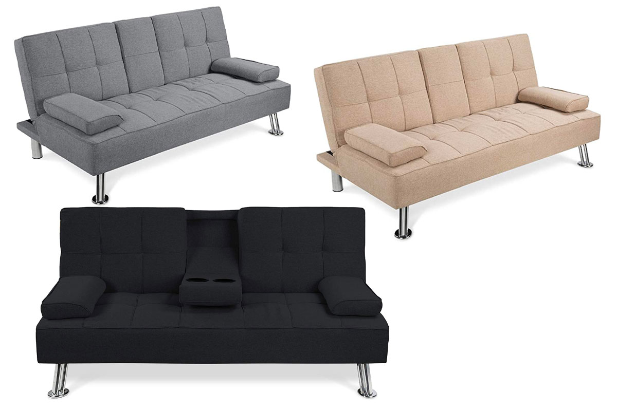 Best Choice Products Linen Upholstered Modern Convertible Folding Futon Sofa Bed