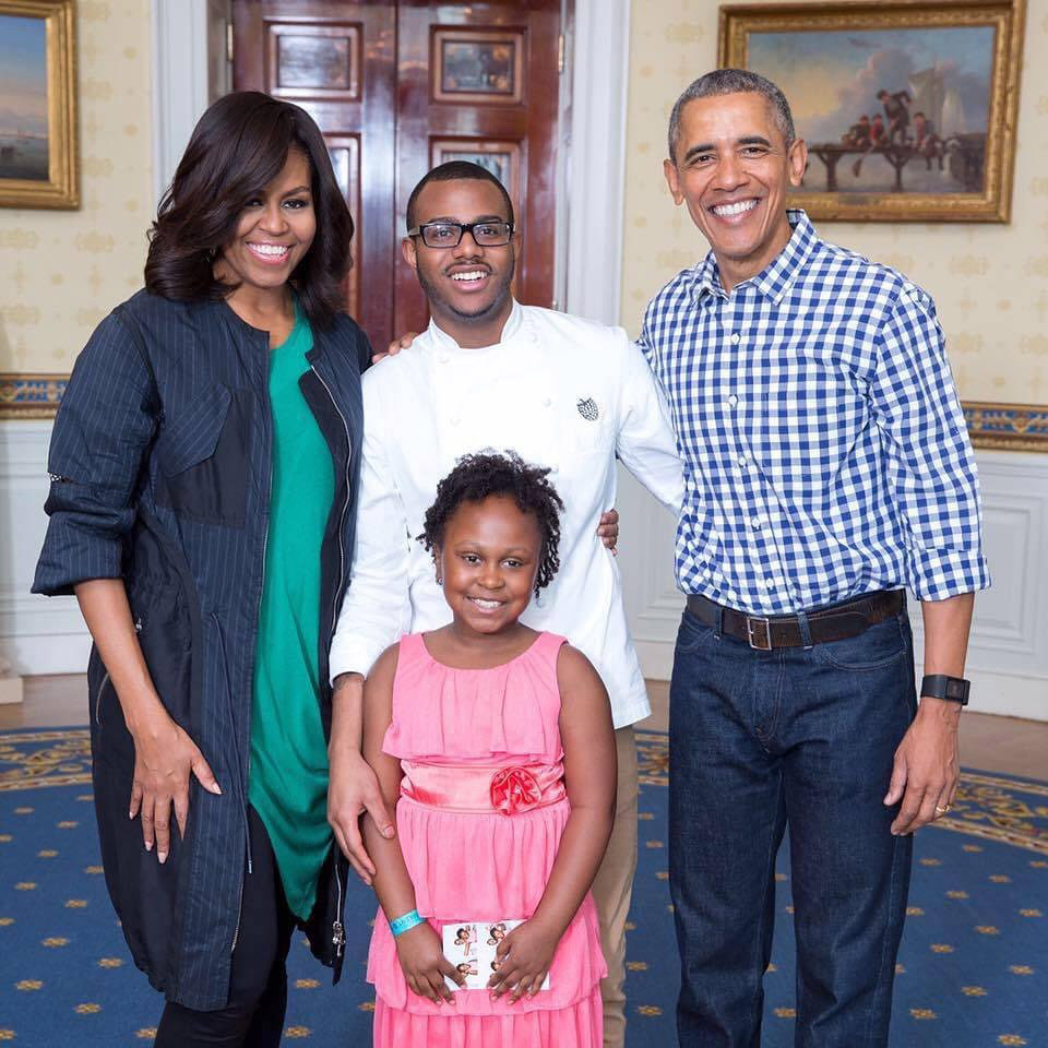 Kwame Onwuachi (top center) with Michelle and Barack Obama