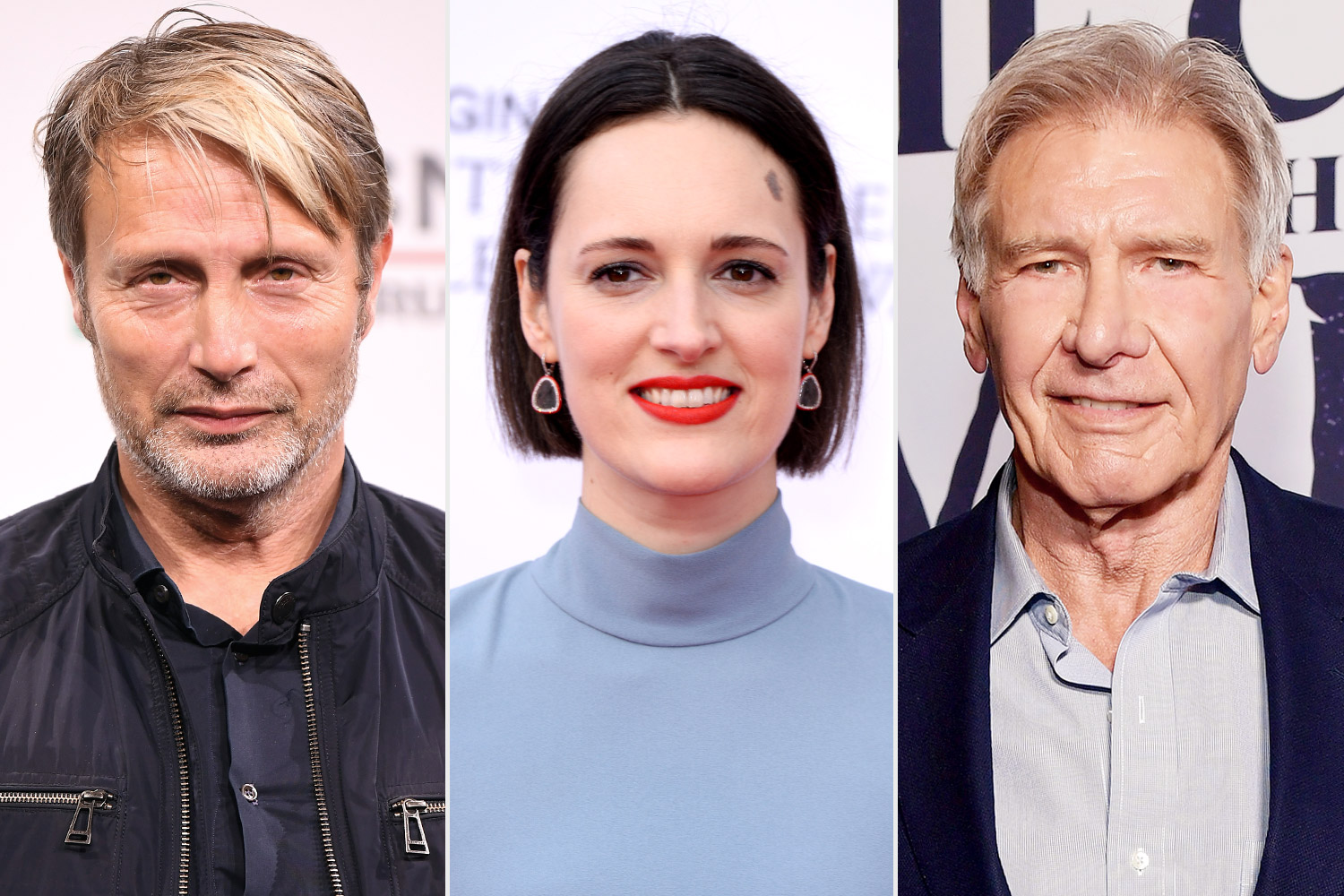 Mads Mikkelsen, Phoebe Waller-Bridge and Harrison Ford