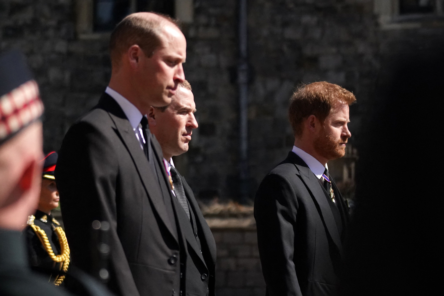 Prince William, Duke of Cambridge, Peter Phillips and Britain's Prince Harry, Duke of Sussex
