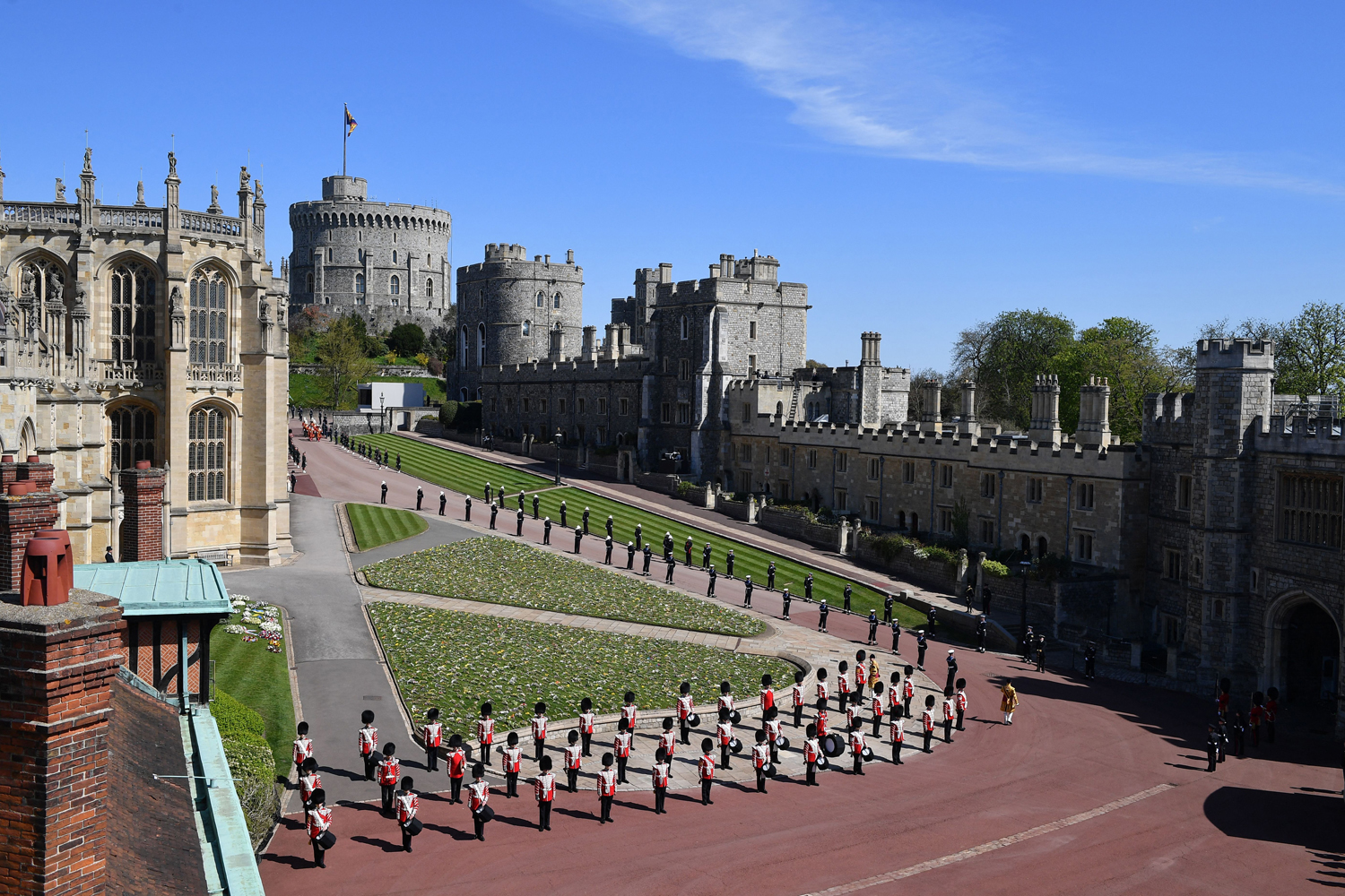 Members of the armed forces take their positions during the funeral service of Britain's Prince Philip, Duke of Edinburgh