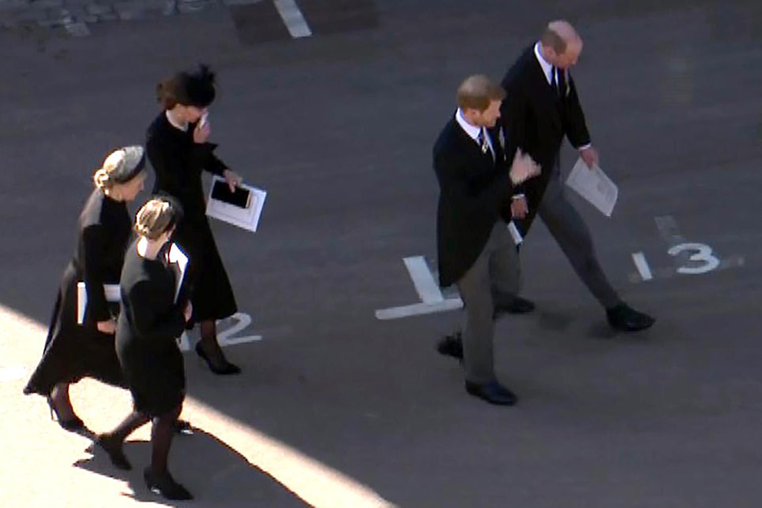 Prince Harry, Prince William and Catherine Duchess of Cambridge attend the funeral service of Britain's Prince Philip, Duke of Edinburgh