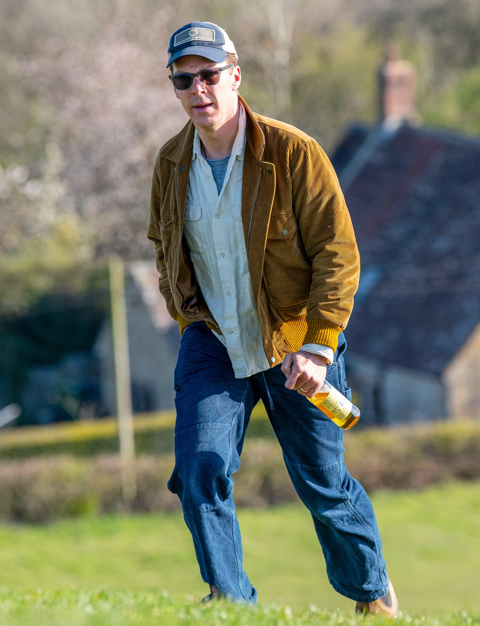 Benedict Cumberbatch Enjoys A Bottle Of Cider On Burrow Hill In Somerset