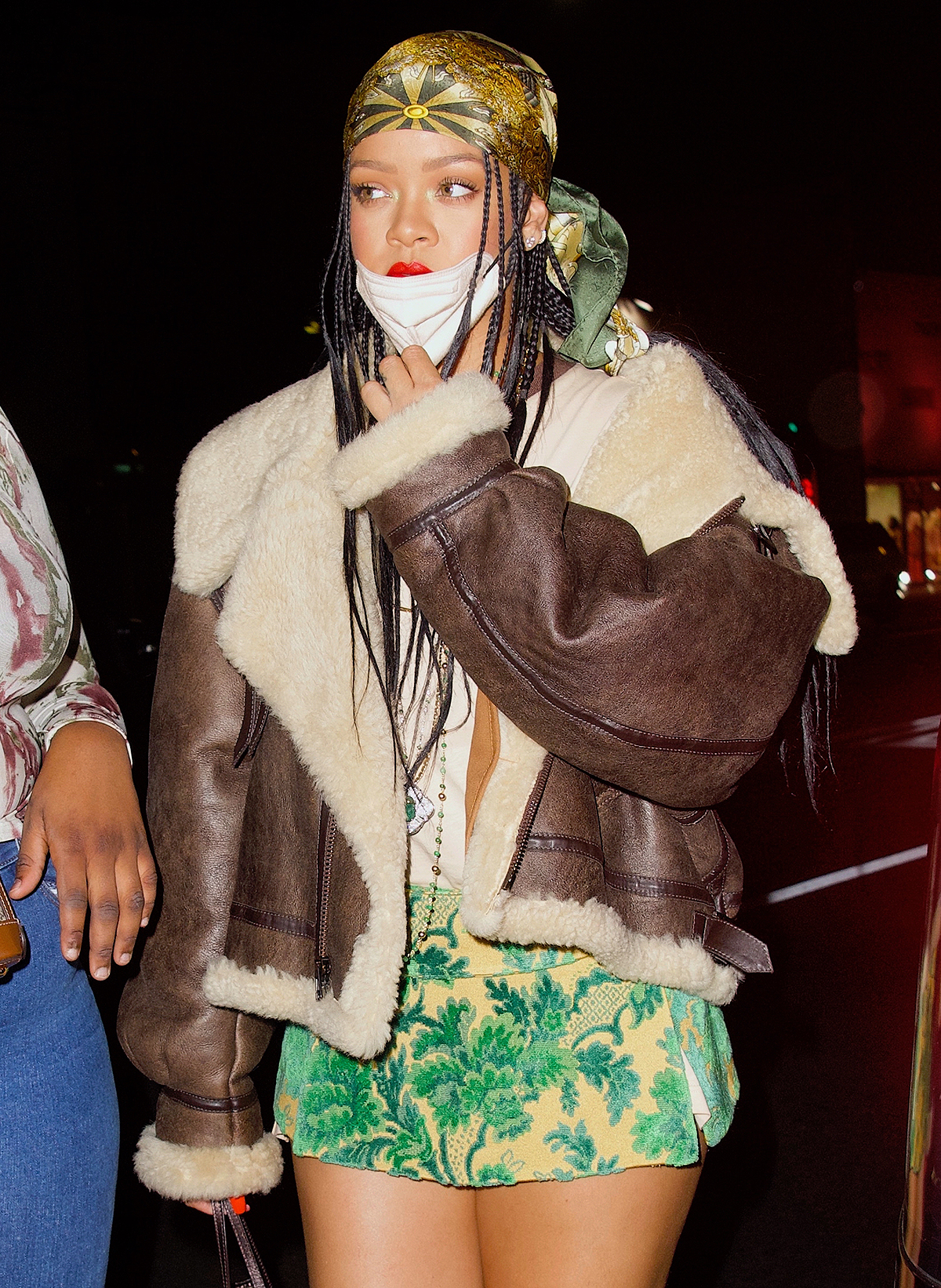 Rihanna Parties at The Nice Guy in Mini Skirt That Showcases Her Slender Legs