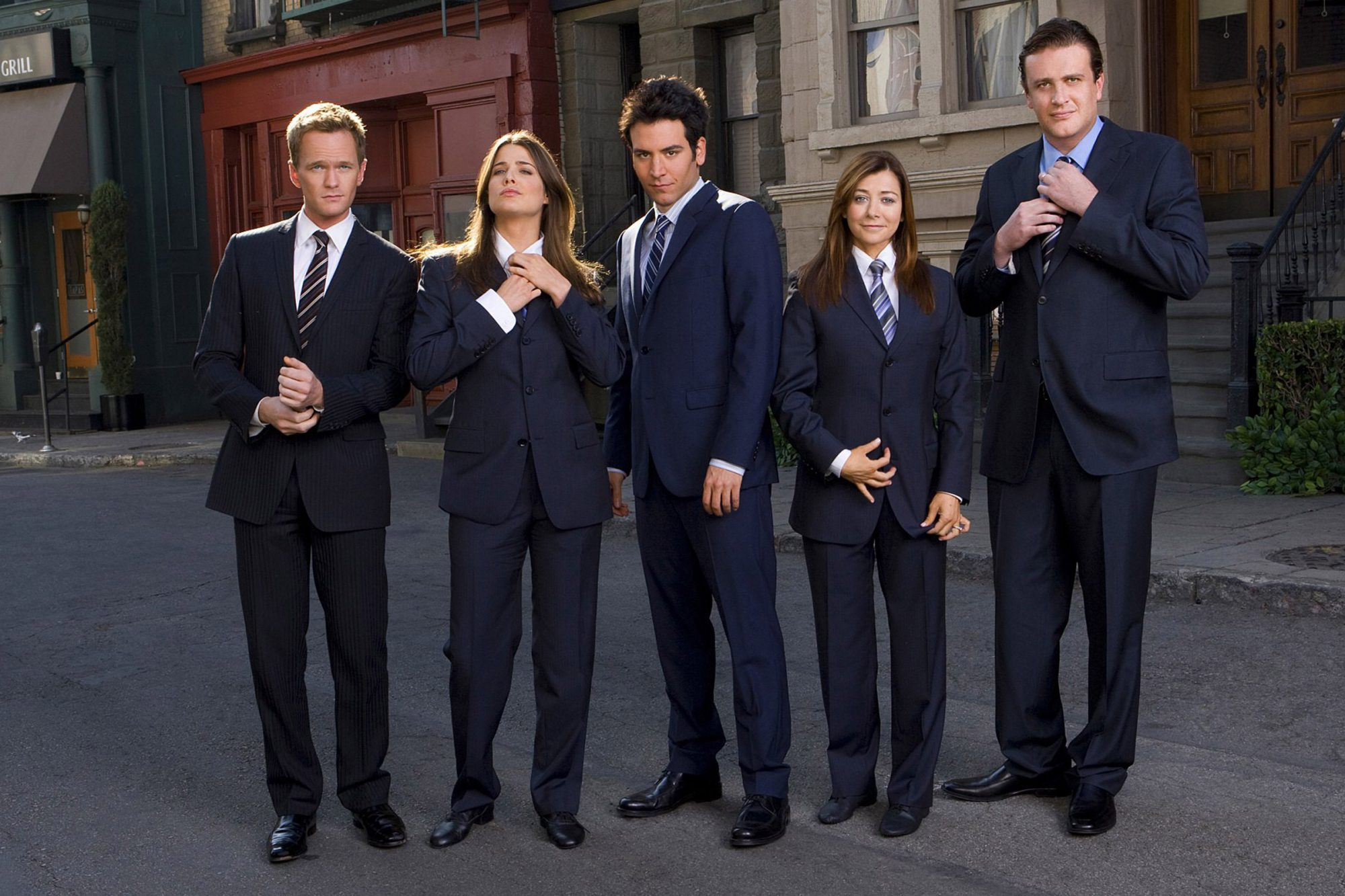 Barney (Neil Patrick Harris), Robin (Cobie Smulders), Ted (Josh Radnor), Lily (Alyson Hannigan), and Marshall (Jason Segel) of How I Met Your Mother